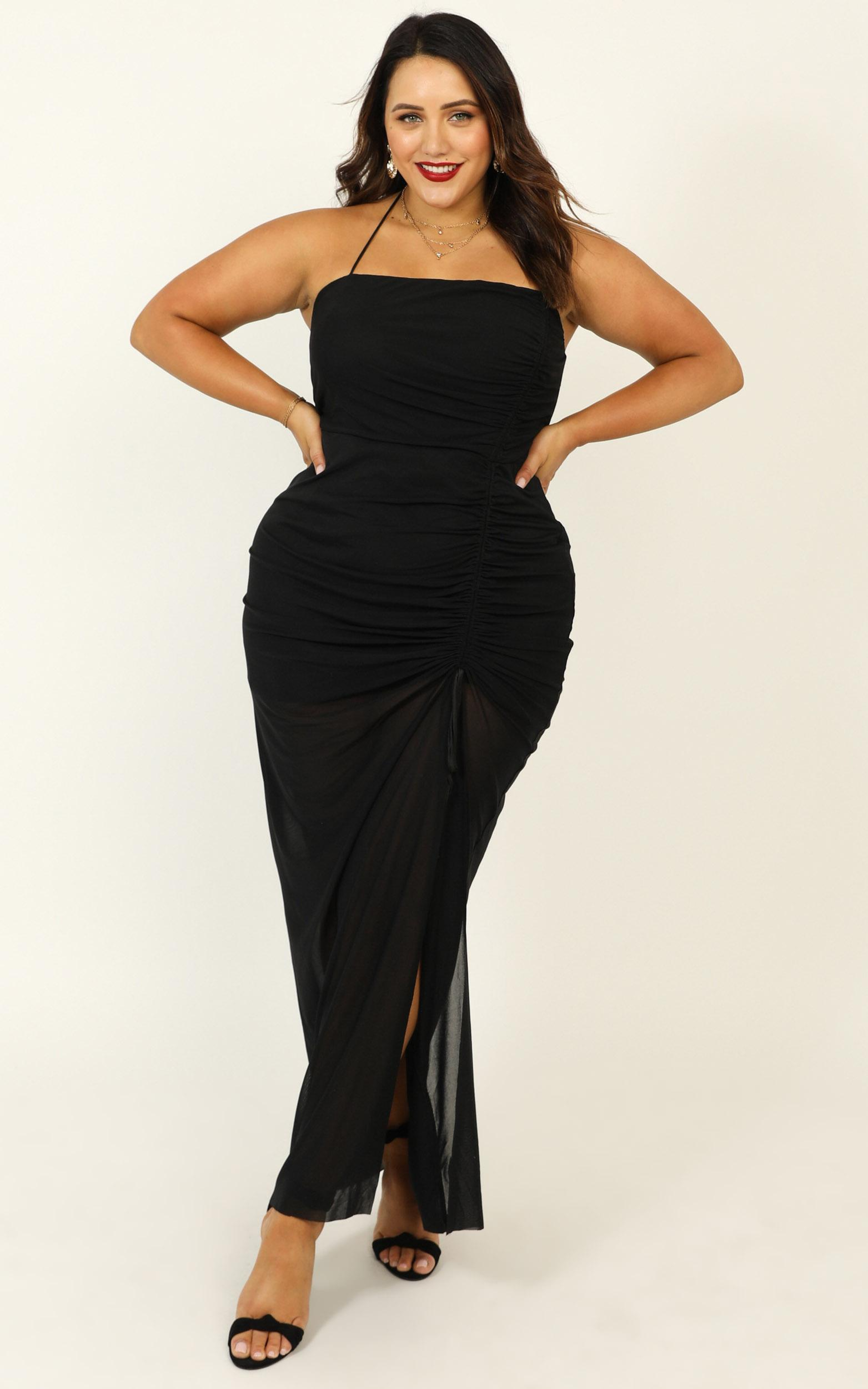 Like A Shooting Star dress in black mesh - 20 (XXXXL), Black, hi-res image number null