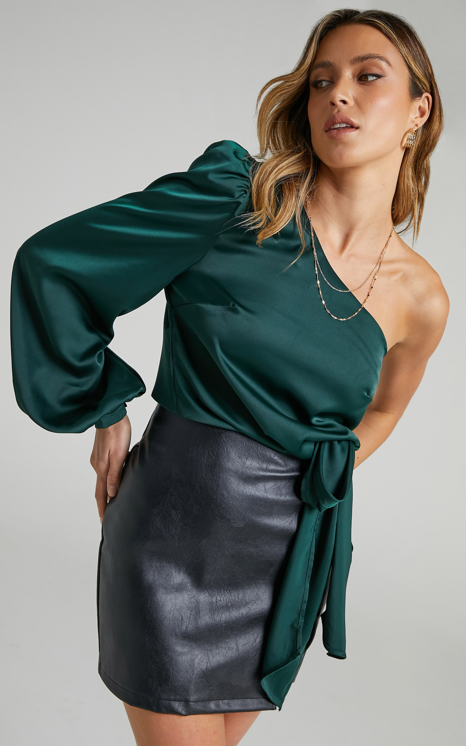 Vickie One Shoulder Tie Front Top in Emerald - 06, GRN1, hi-res image number null