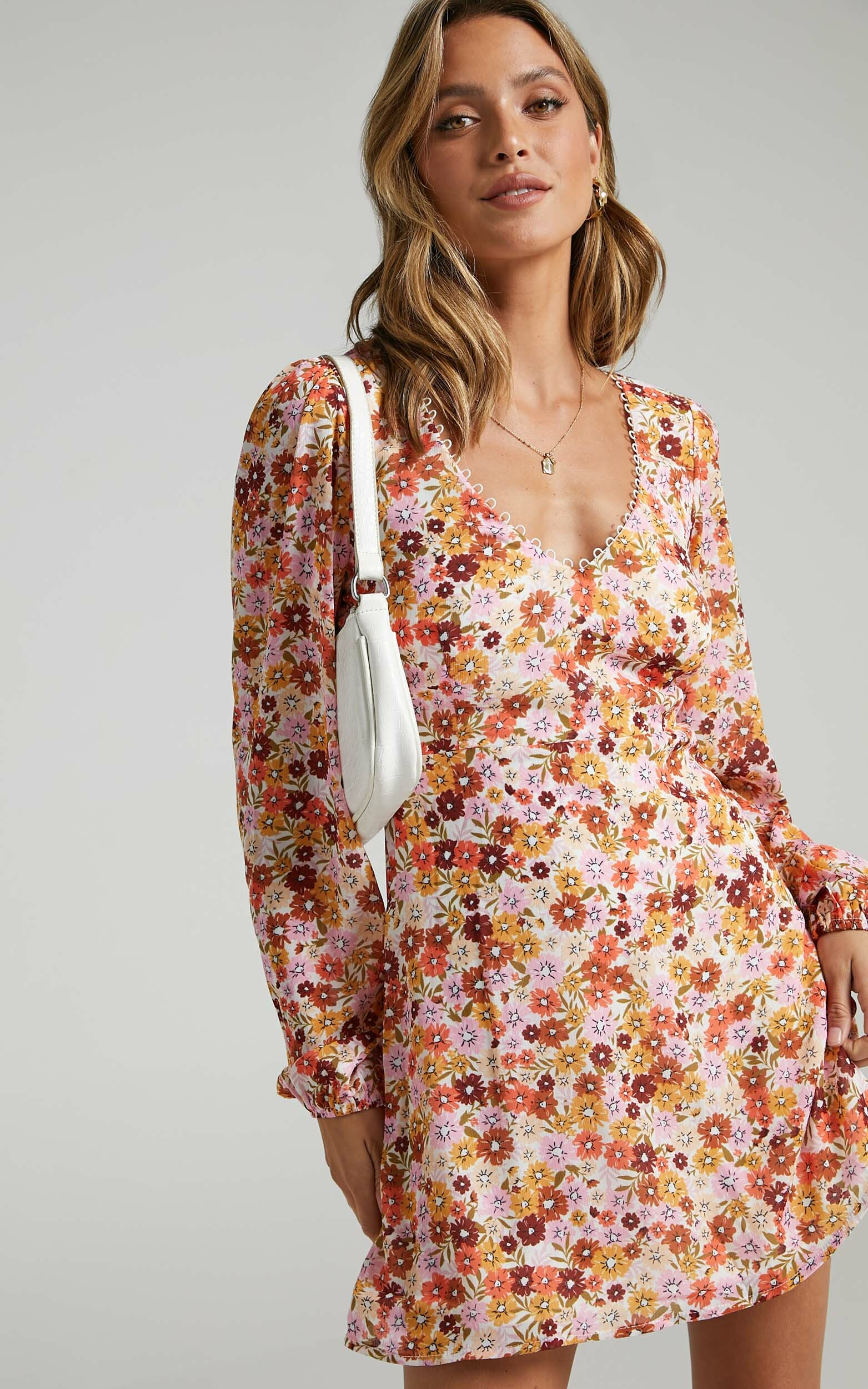 Andrea Long Sleeve Mini Dress in Sahara Ditsy Floral - 06, MLT1, hi-res image number null