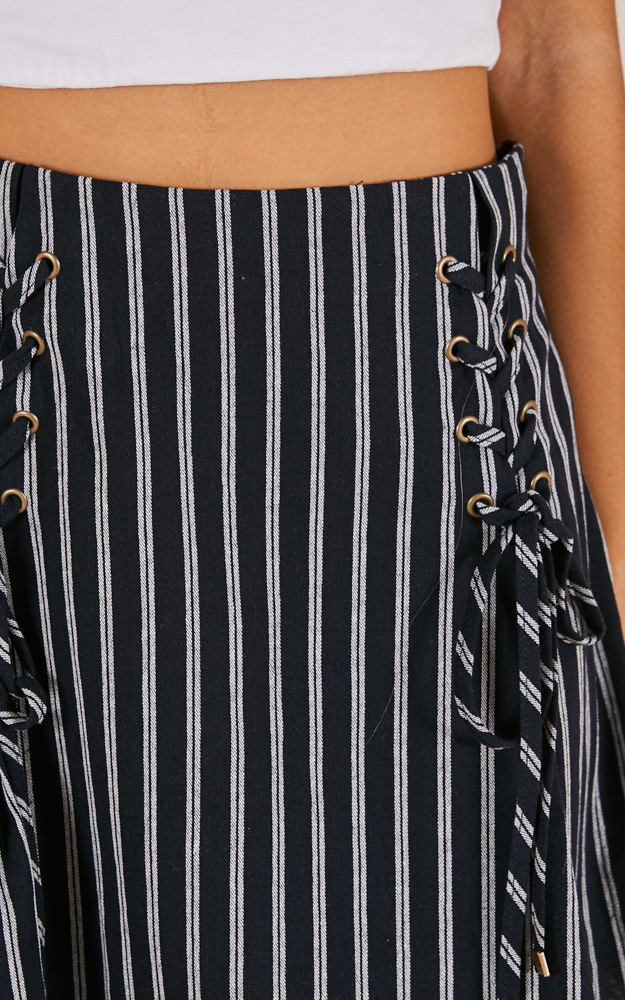 Last Train skirt in navy stripe - 12 (L), Navy, hi-res image number null