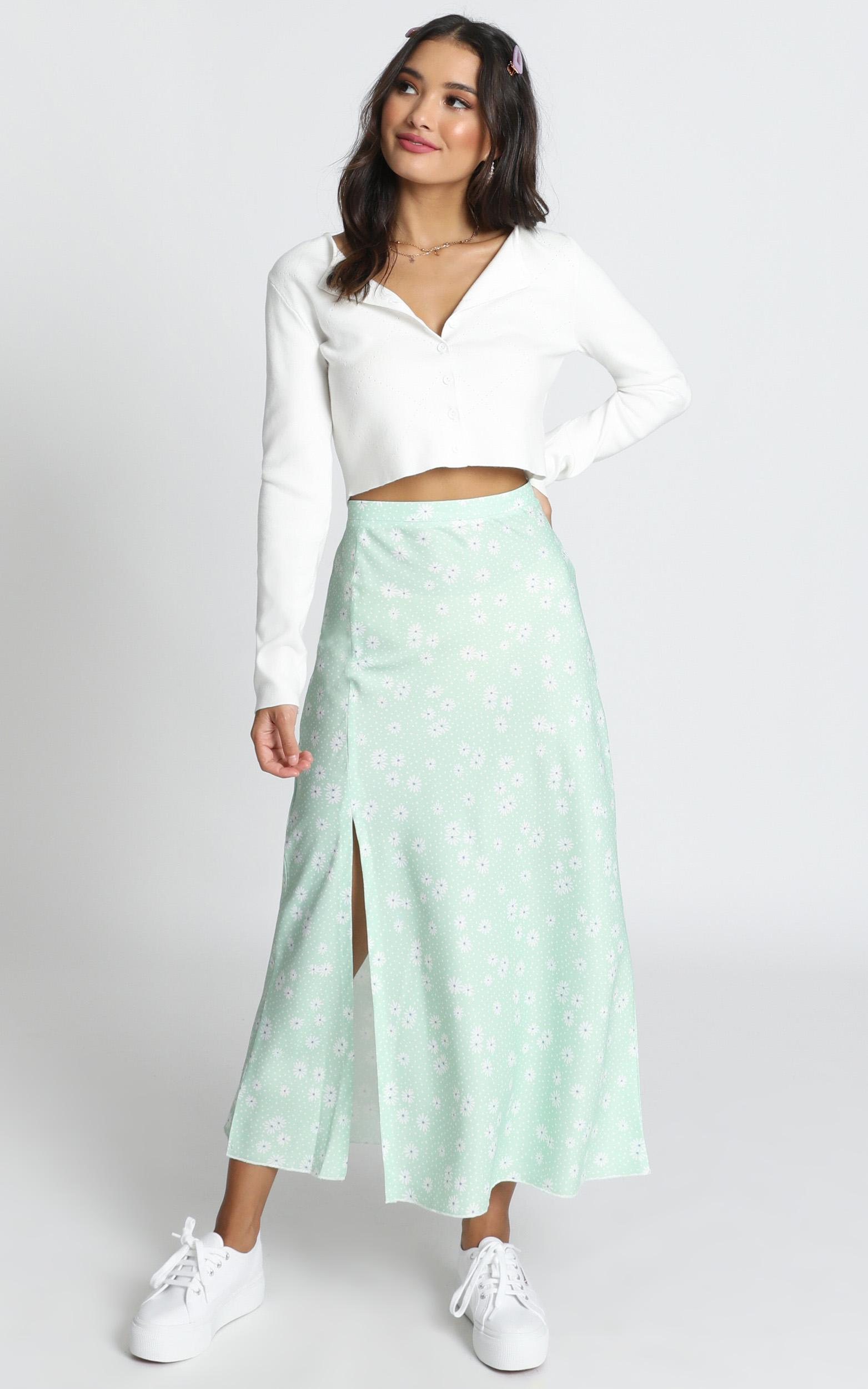 New Ways Skirt in mint floral - 12 (L), Green, hi-res image number null