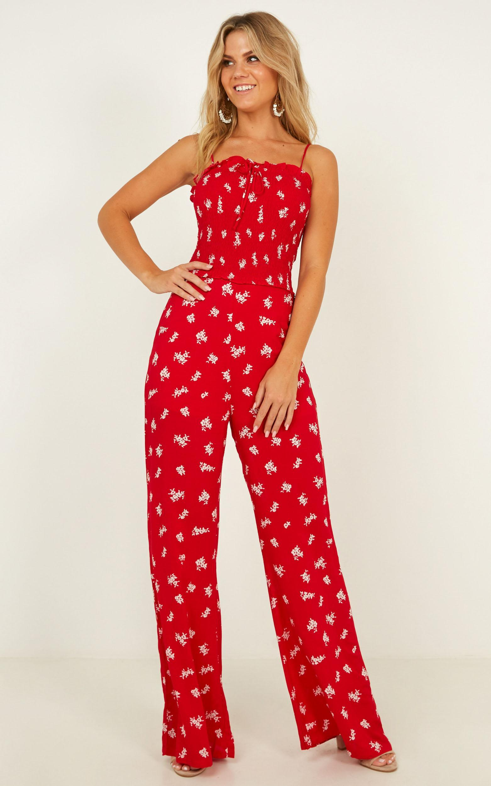 Cruise Around jumpsuit in red floral - 12 (L), Red, hi-res image number null