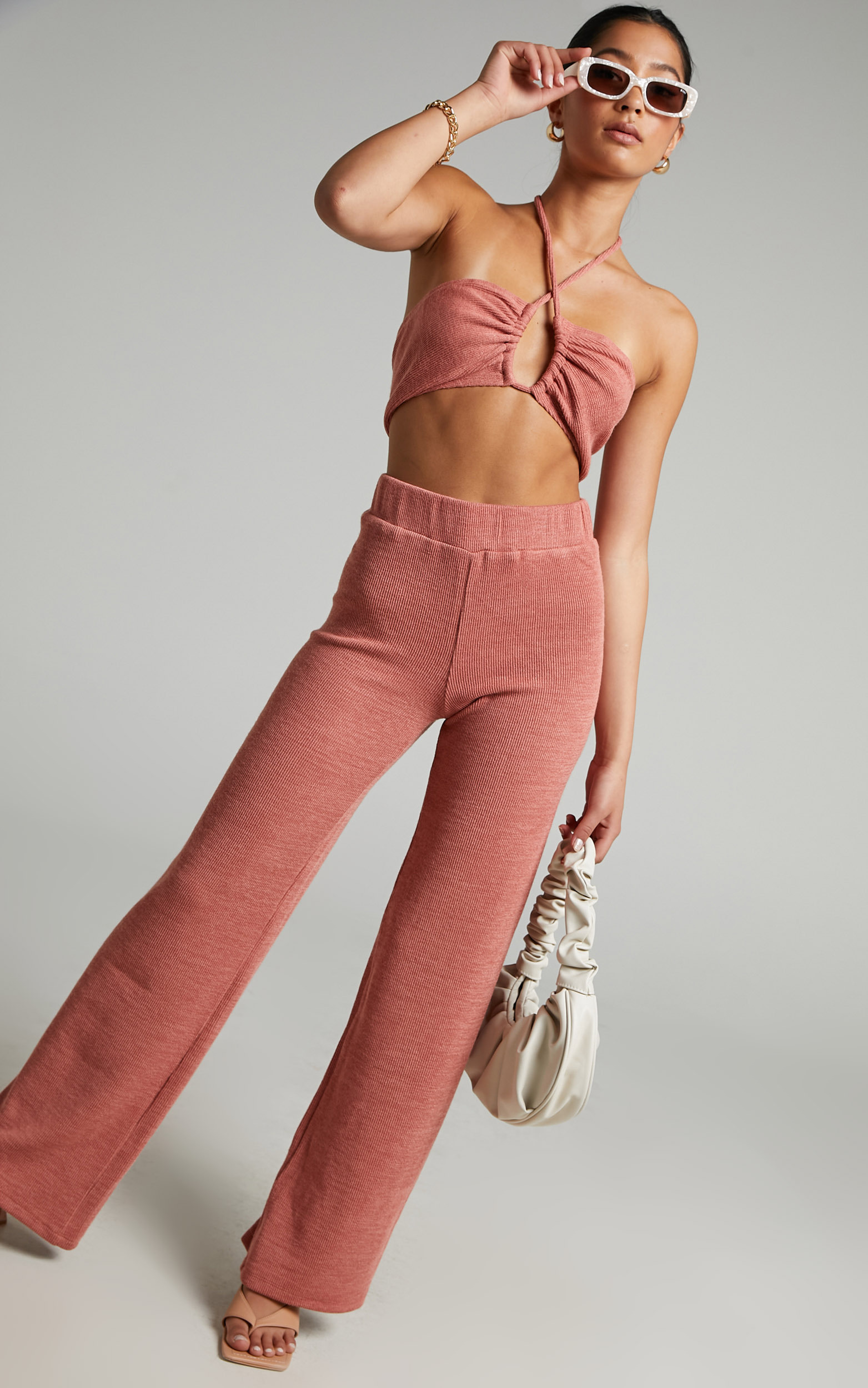 Juliann Knit Two Piece Pant Set with Crop Top in Terracotta - 04, ORG2, hi-res image number null