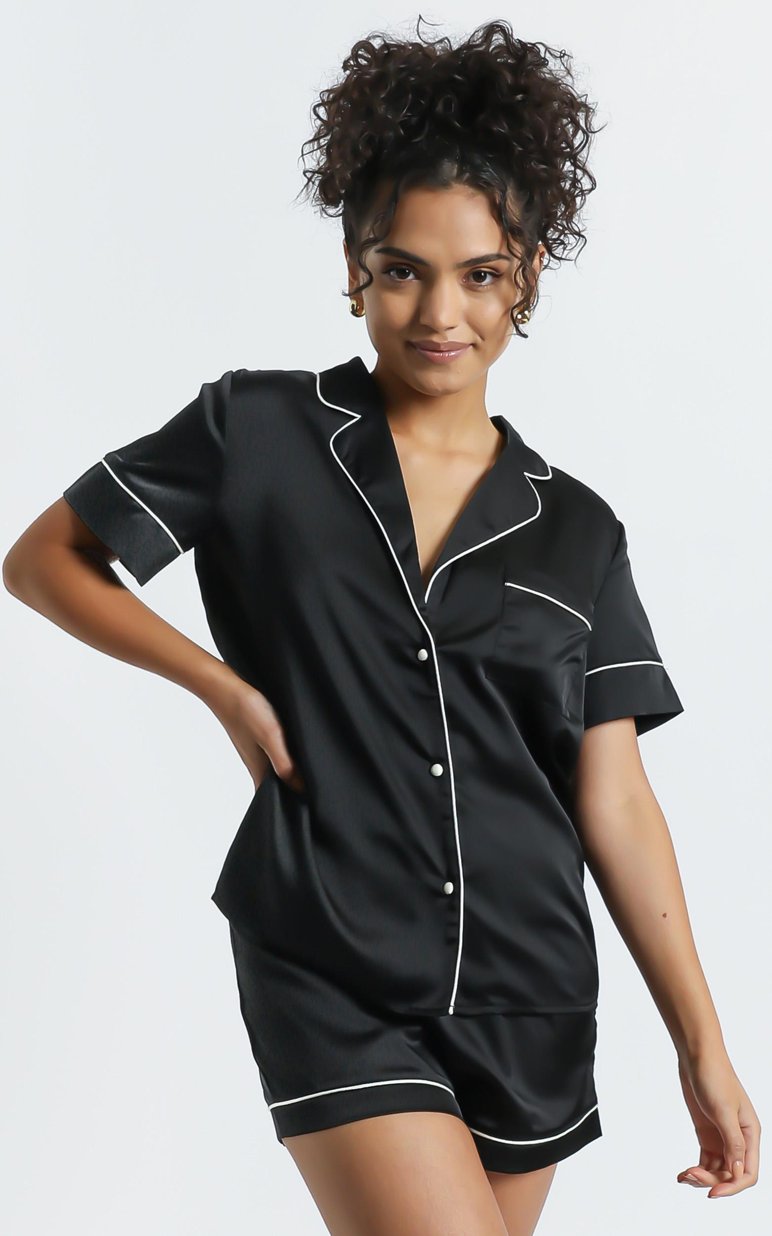 Sleep All Day Top In Black Satin - 6 (XS), BLK1, hi-res image number null