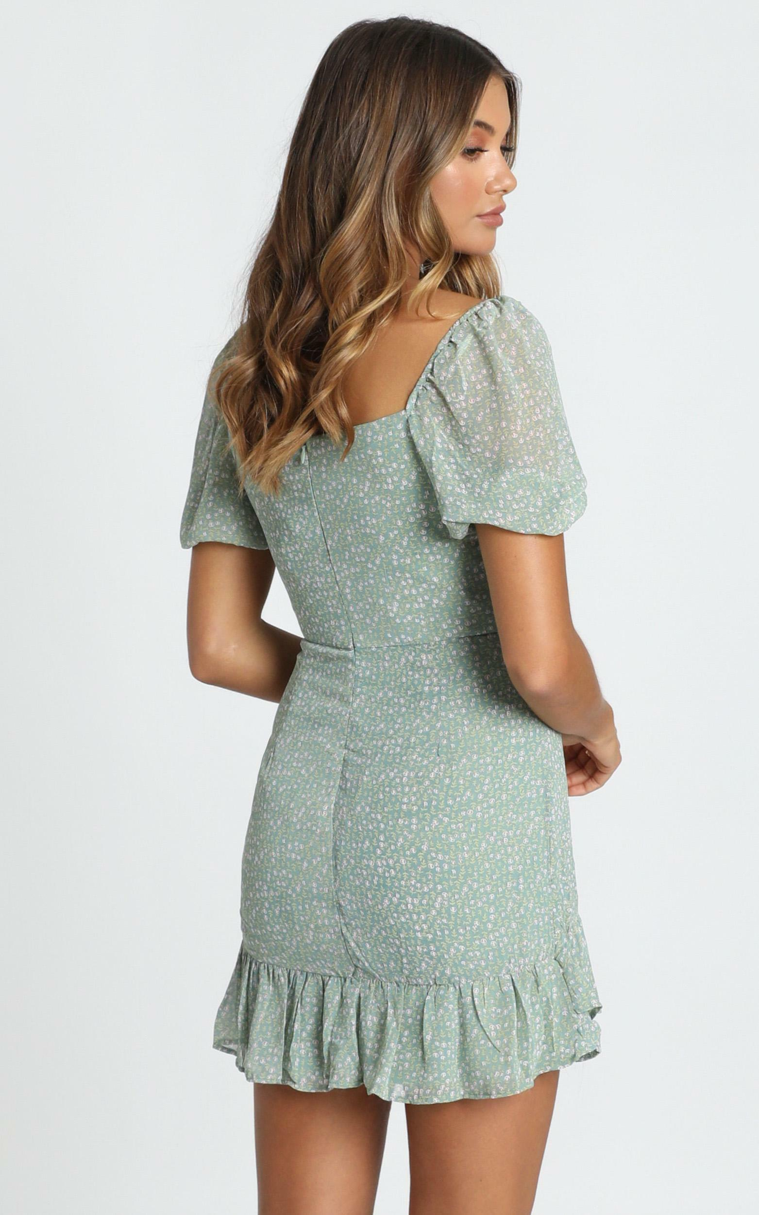 Shelby Mini Dress in mint floral - 12 (L), Green, hi-res image number null