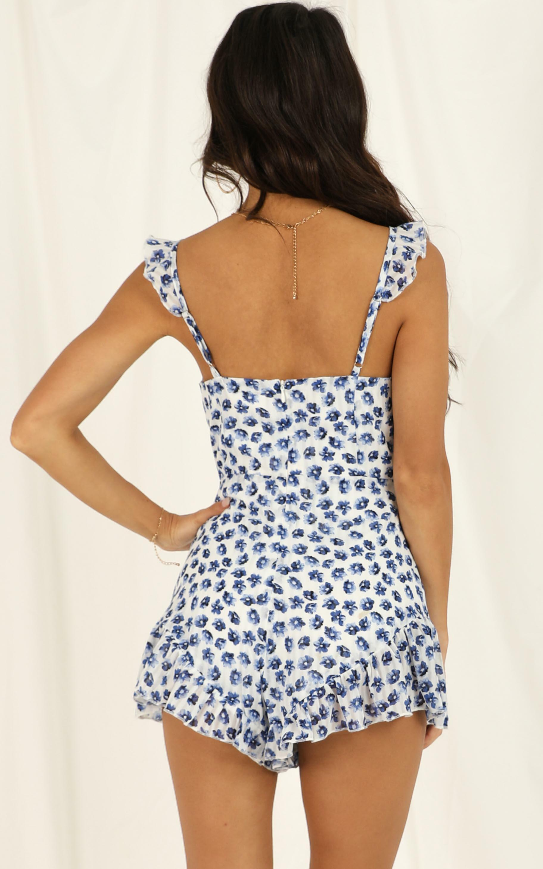 Youre Spot On Playsuit in blue floral - 20 (XXXXL), Blue, hi-res image number null