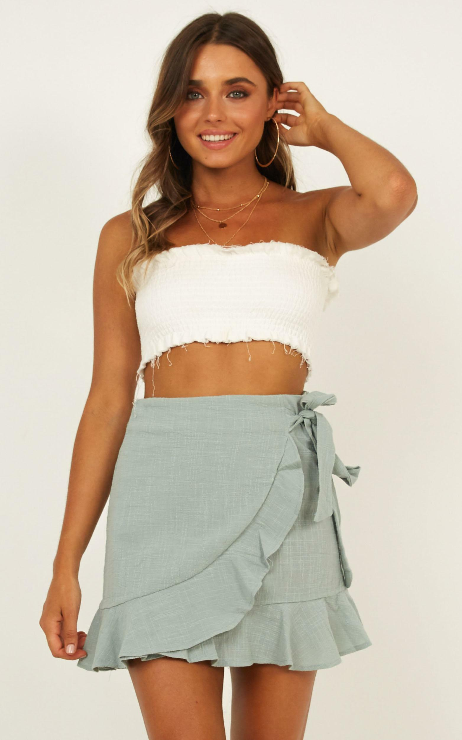 Over And Under Skirt in Sage Linen Look - 08, GRN8, hi-res image number null