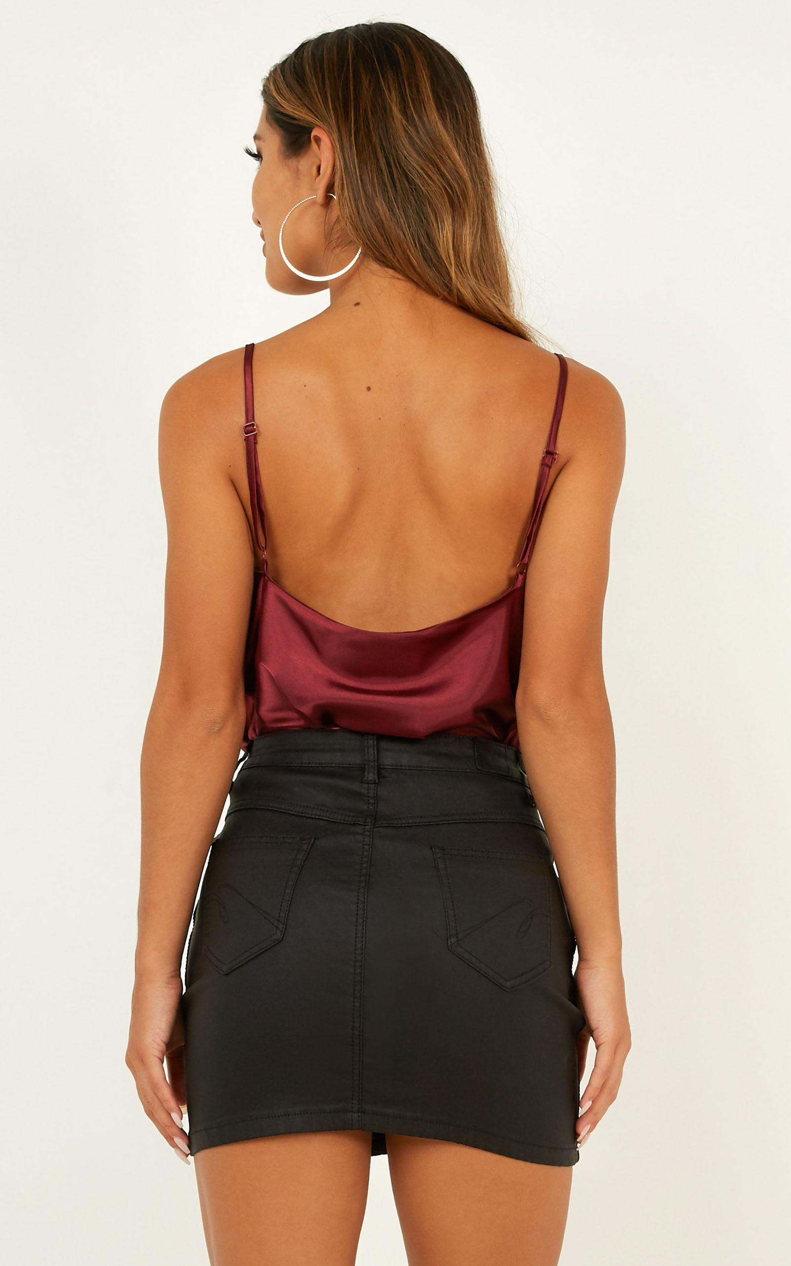 Straight Line top in wine satin - 20 (XXXXL), Wine, hi-res image number null