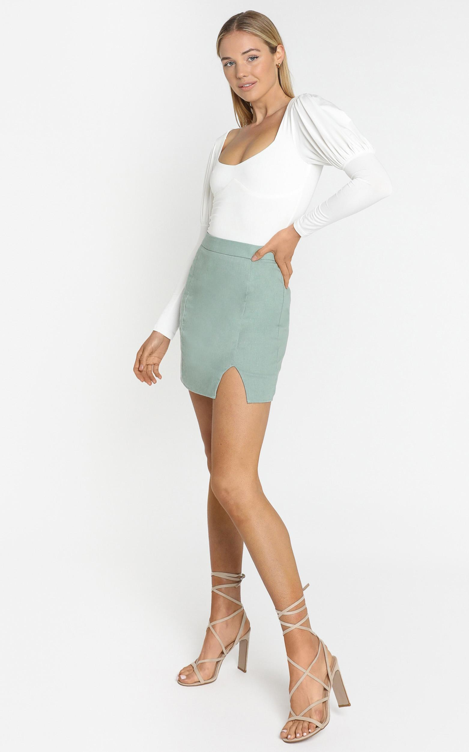 International Babe Skirt In sage linen look - 4 (XXS), Green, hi-res image number null