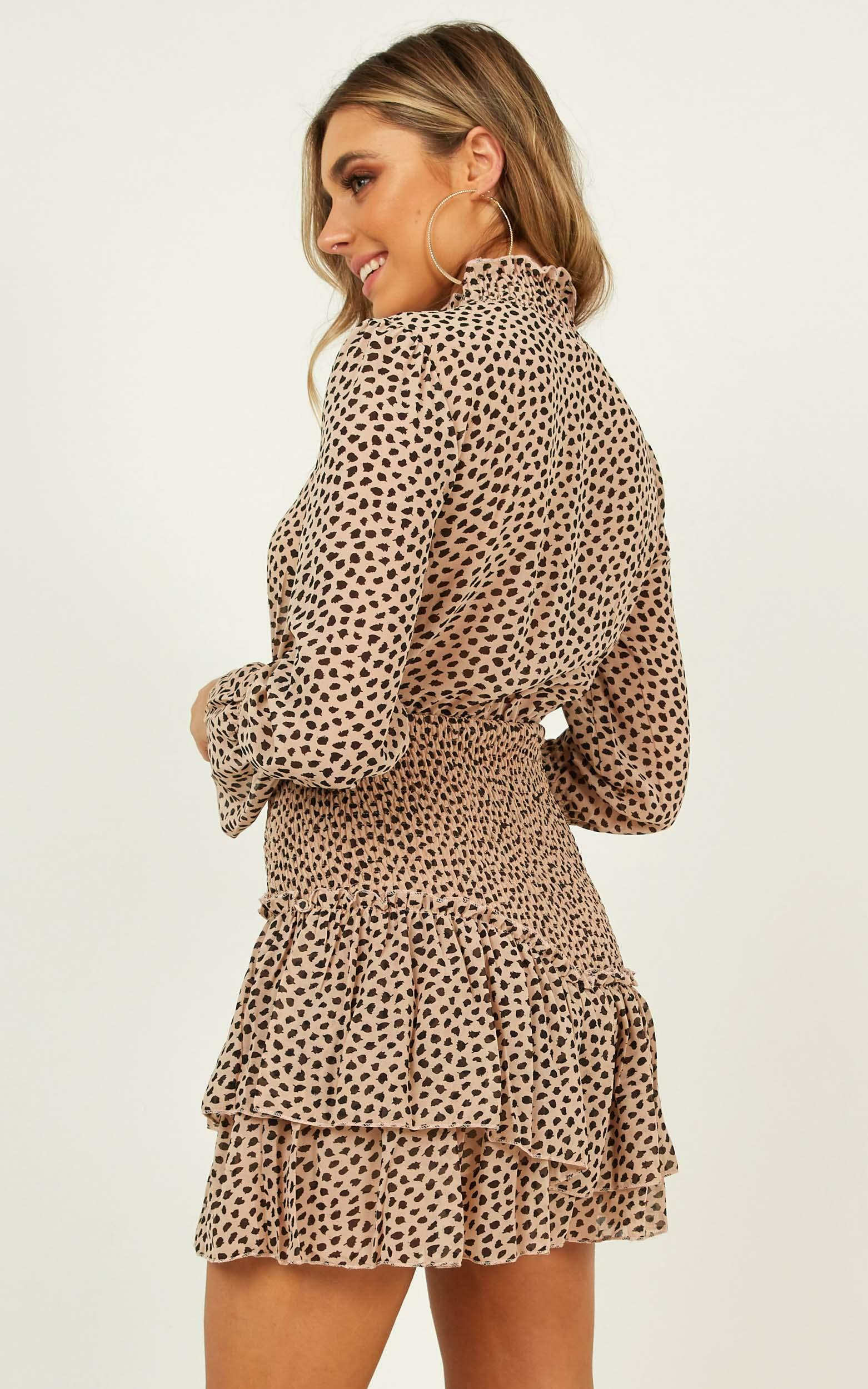 Hard To Admit dress in leopard print - 12 (L), Brown, hi-res image number null