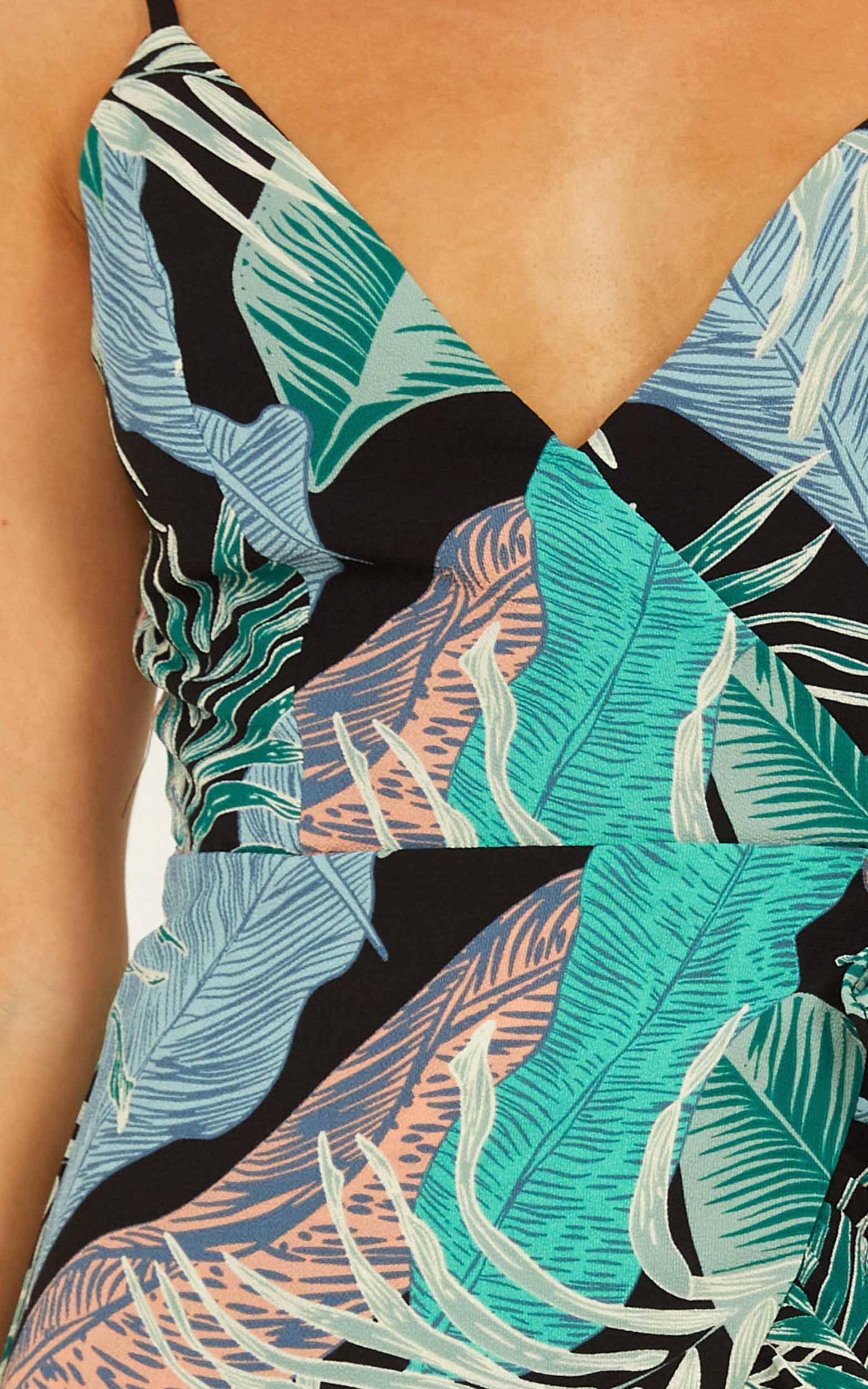 Waves Of Change playsuit in green print - 12 (L), Green, hi-res image number null
