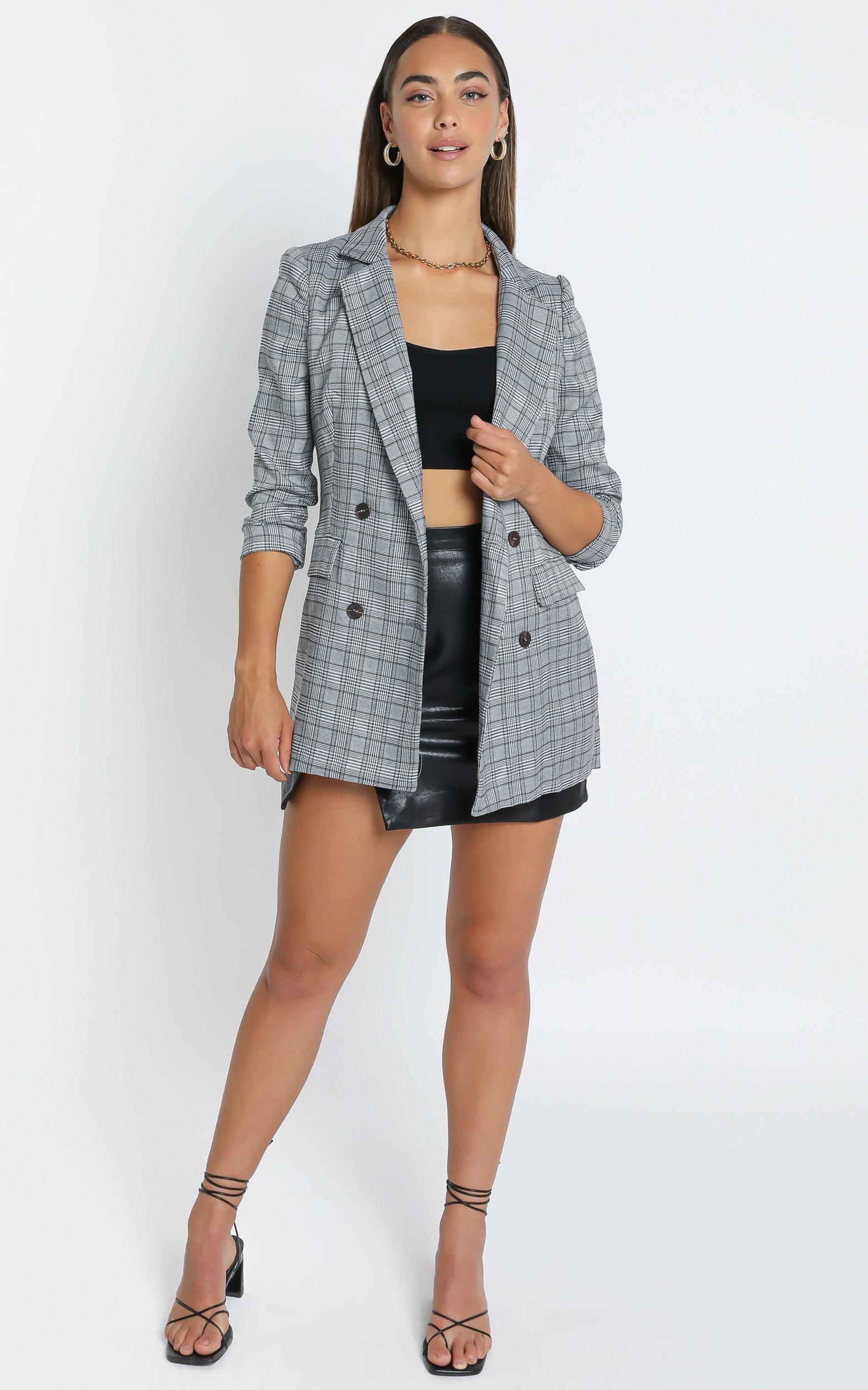 Sort it out Blazer in Grey Check - 4 (XXS), Grey, hi-res image number null