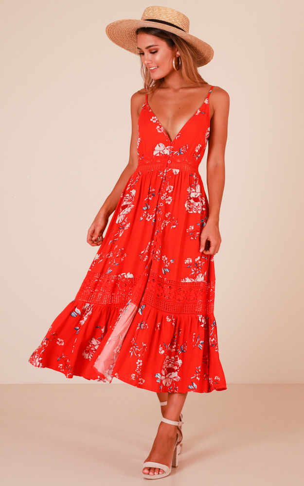 Lily Field maxi dress in red floral - 14 (XL), Red, hi-res image number null