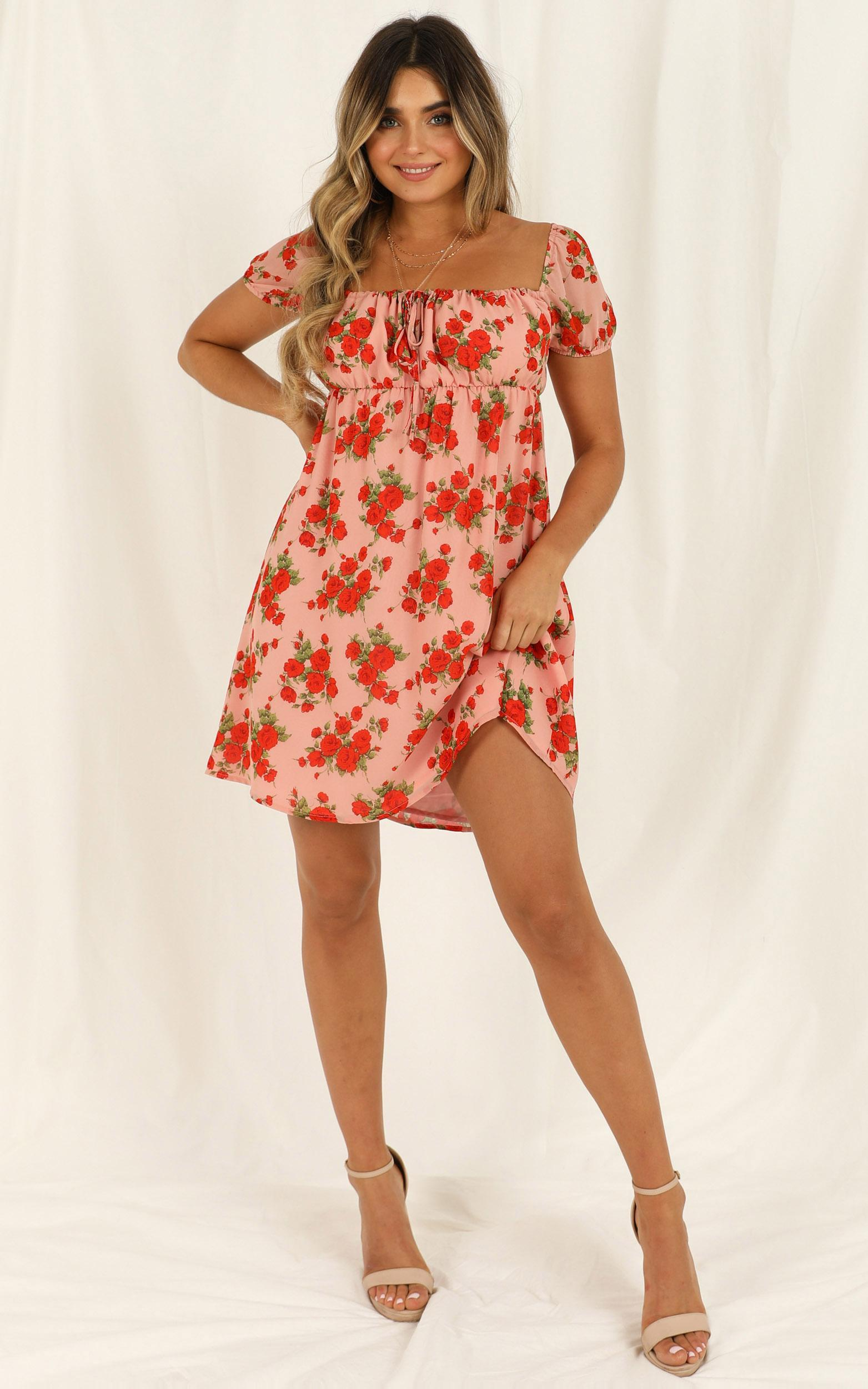 Lunch Date Dress in peach floral - 20 (XXXXL), Pink, hi-res image number null
