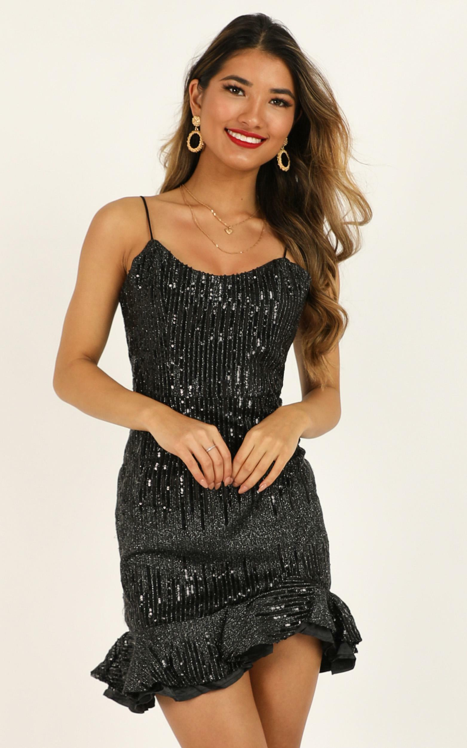 What Do You Think About Me Dress in black sequin - 12 (L), Black, hi-res image number null
