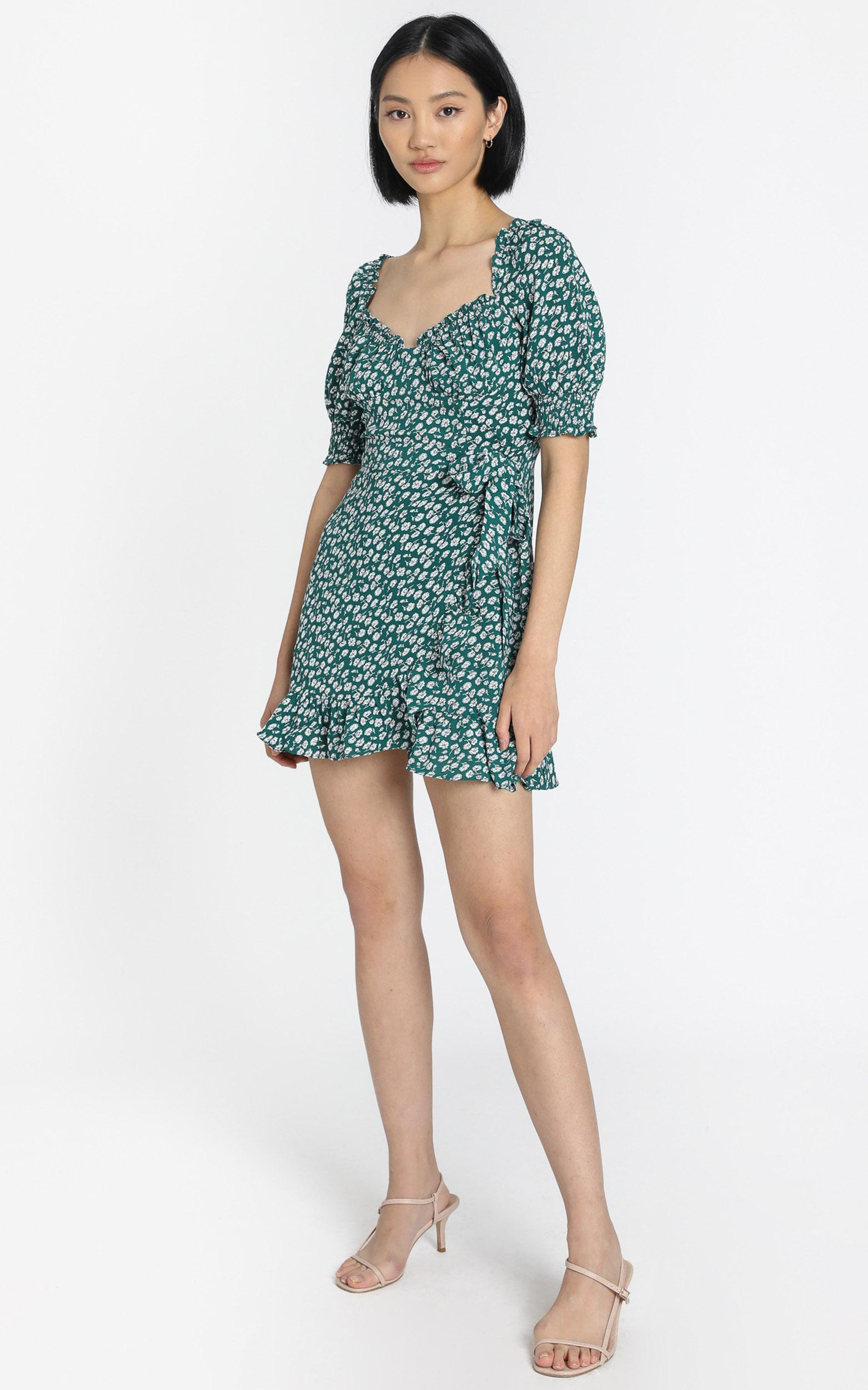 Evelina Dress in Green Floral - 6 (XS), Green, hi-res image number null