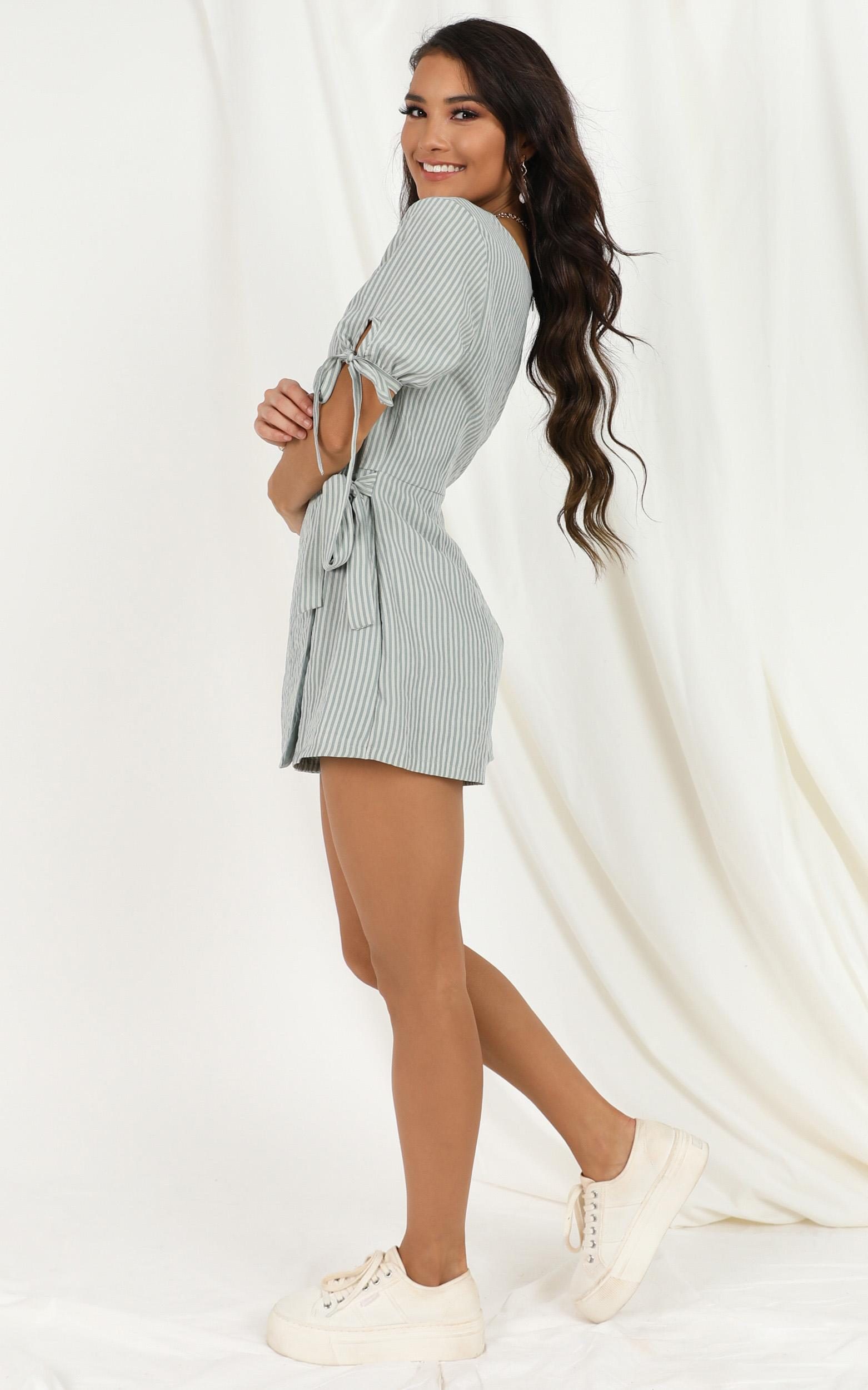 Life Is Great Playsuit in sage stripe - 20 (XXXXL), Sage, hi-res image number null