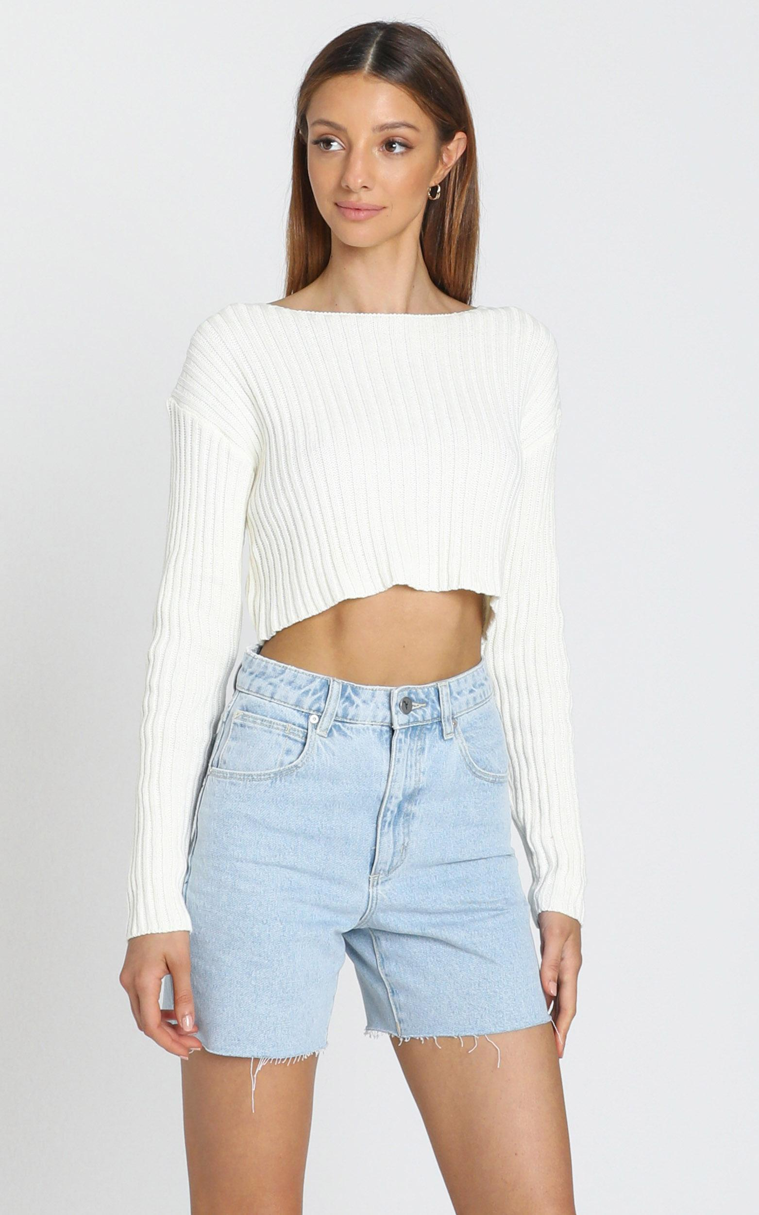 Born Influencer Ribbed Knit in  Cream - S/M, Cream, hi-res image number null