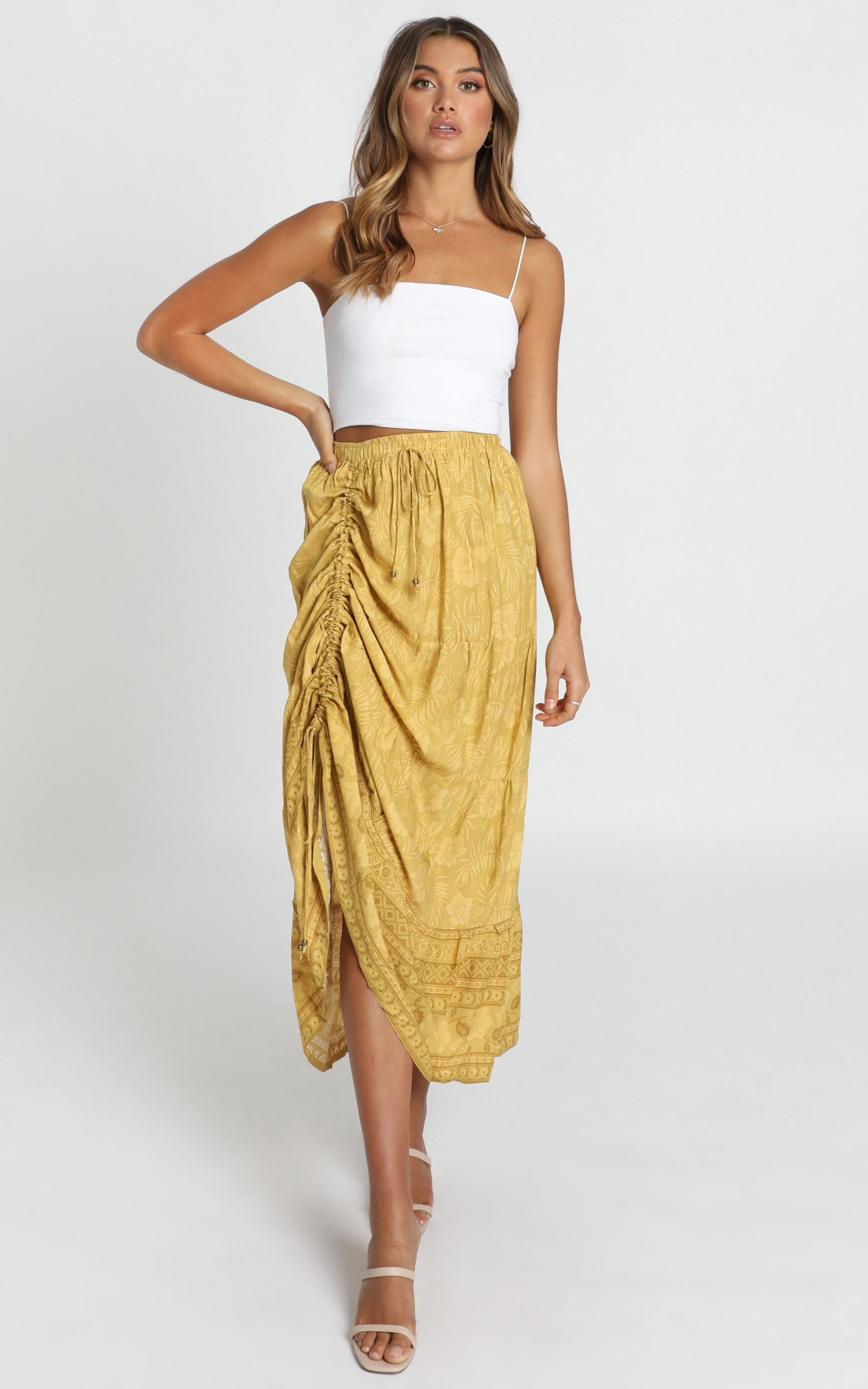 Next Big Thing Skirt in mustard floral - 14 (XL), Mustard, hi-res image number null