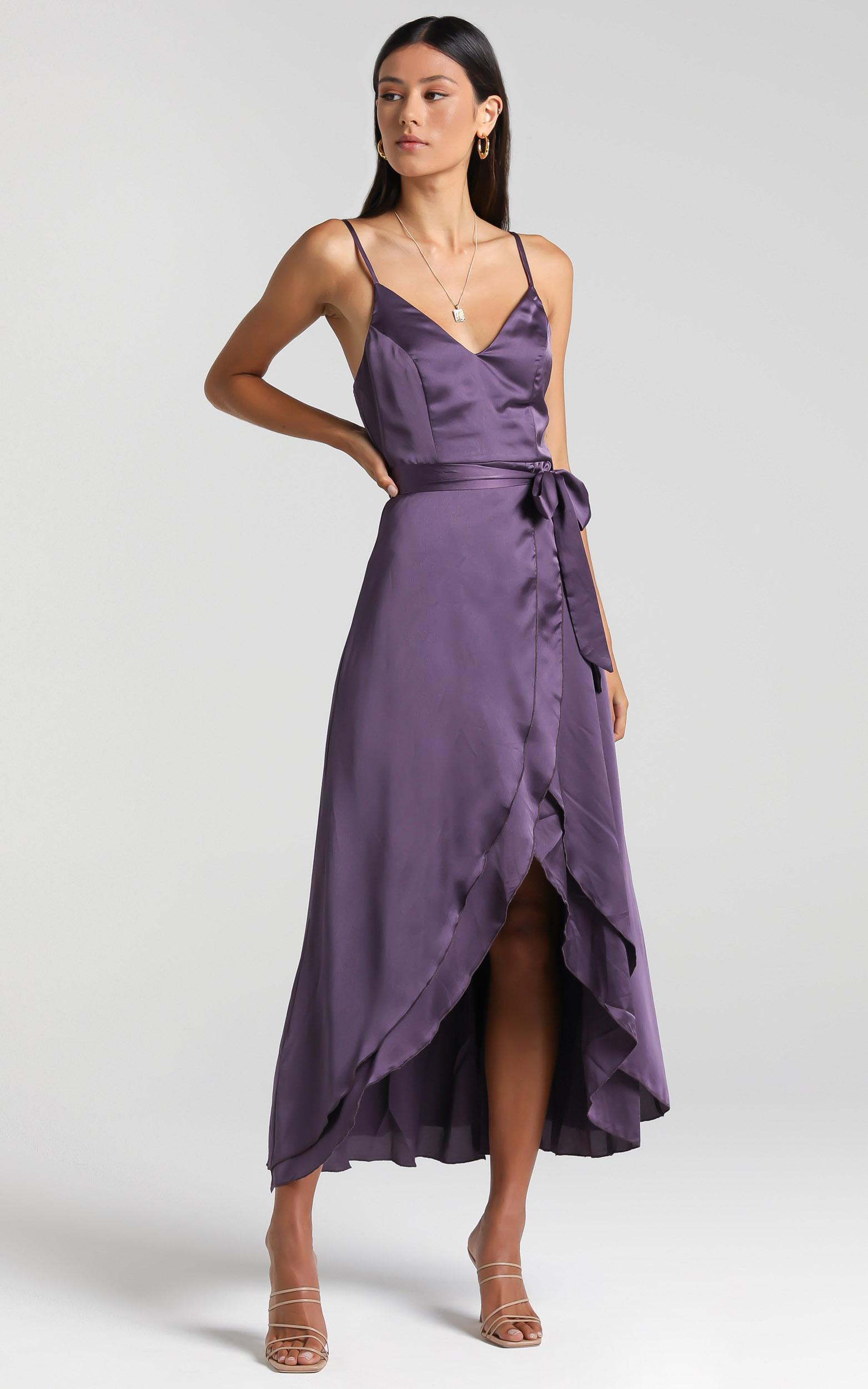 Treasuring You Wrap Midi Dress in Aubergine Satin - 06, PRP2, hi-res image number null
