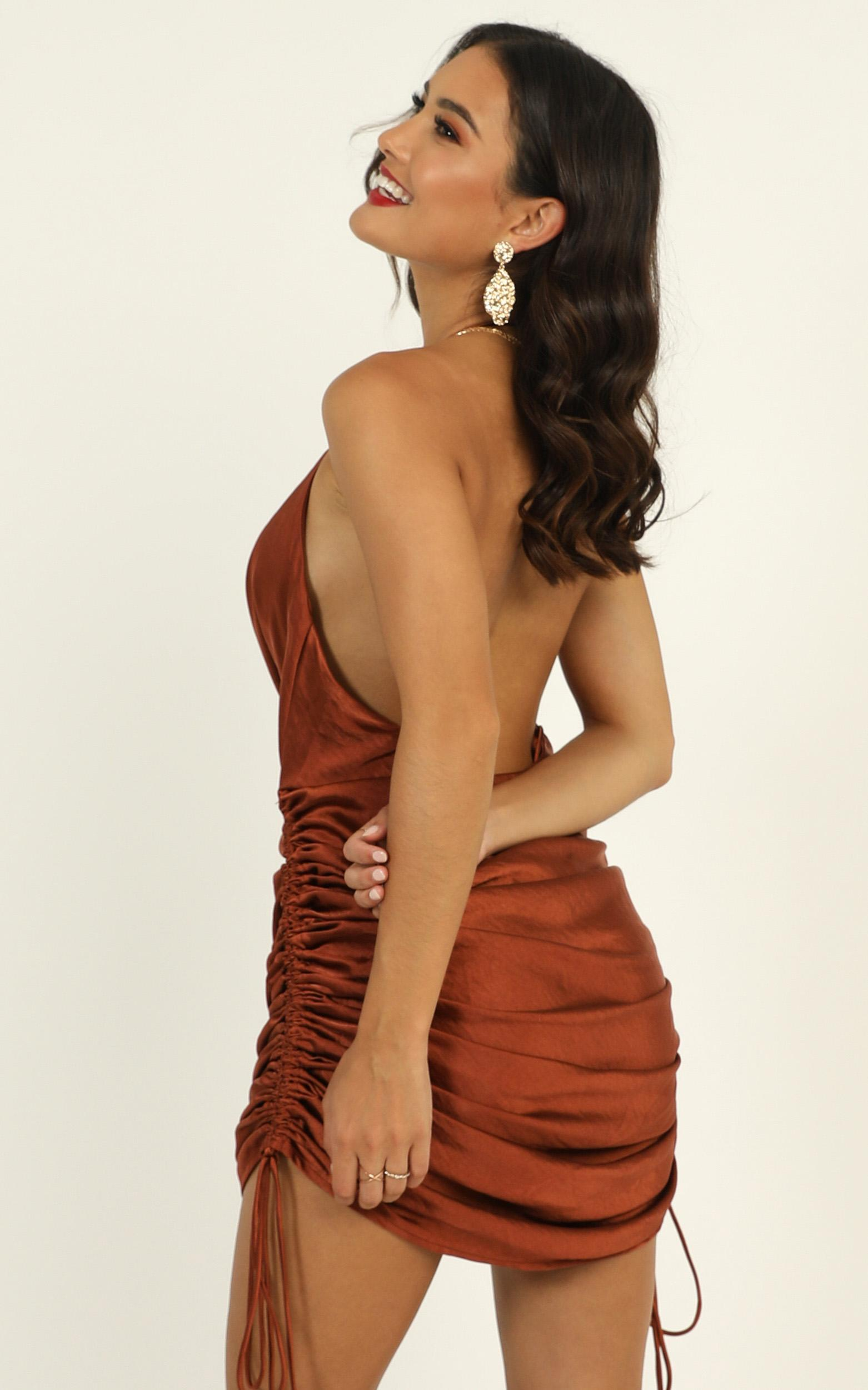 Lioness - String Along Dress In Rust Satin - 12 (L), Rust, hi-res image number null