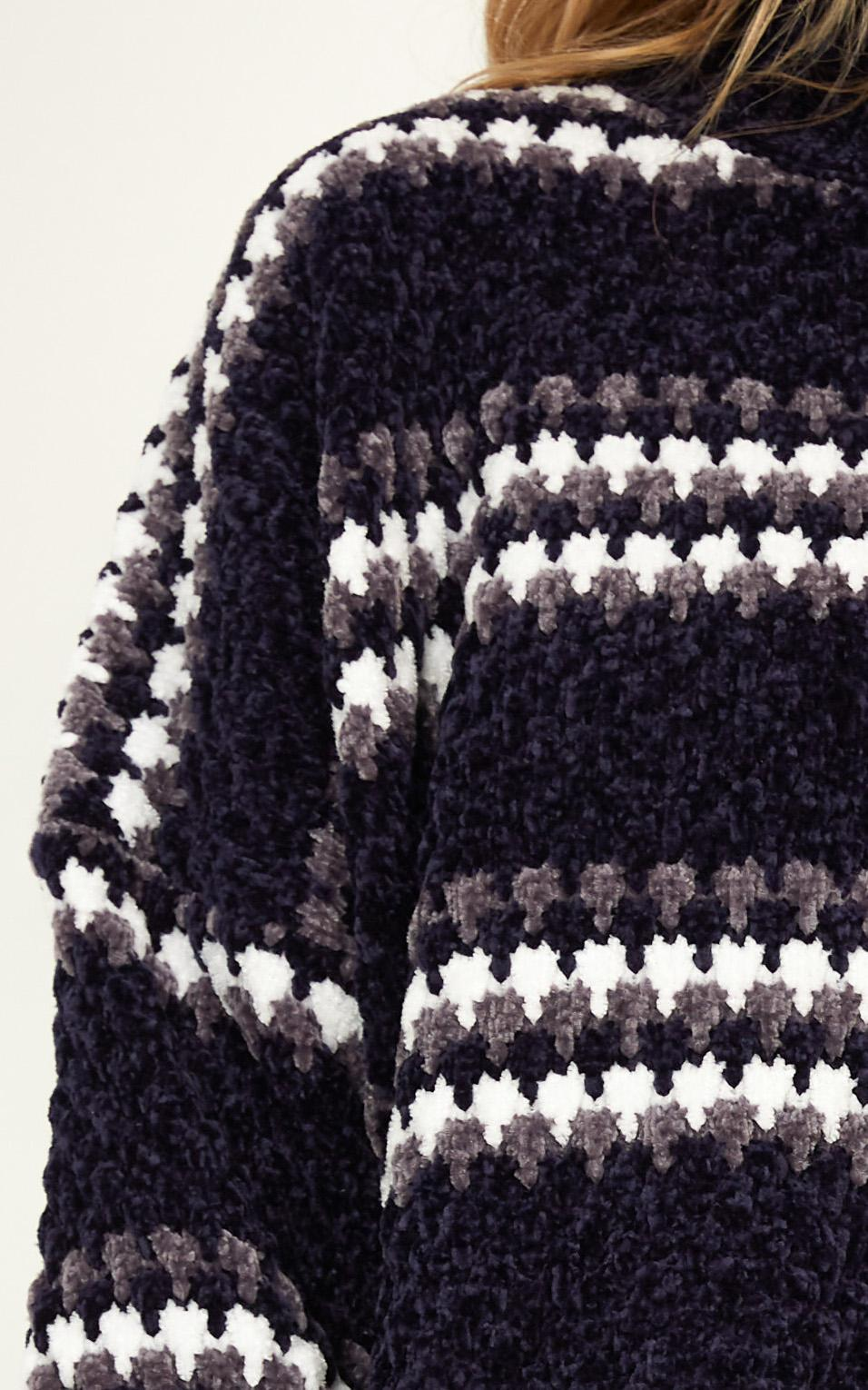 Right Decisions knit jumper in navy stripe - M/L, Navy, hi-res image number null