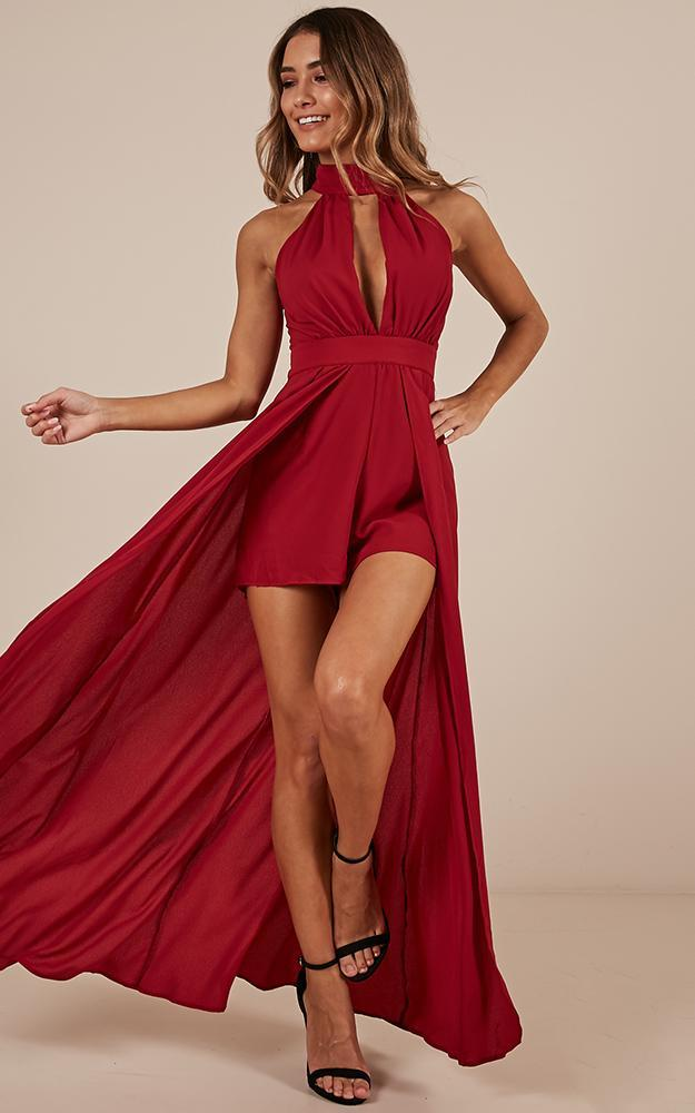 Dont Rain On My Parade Playsuit In Wine, Wine, hi-res image number null