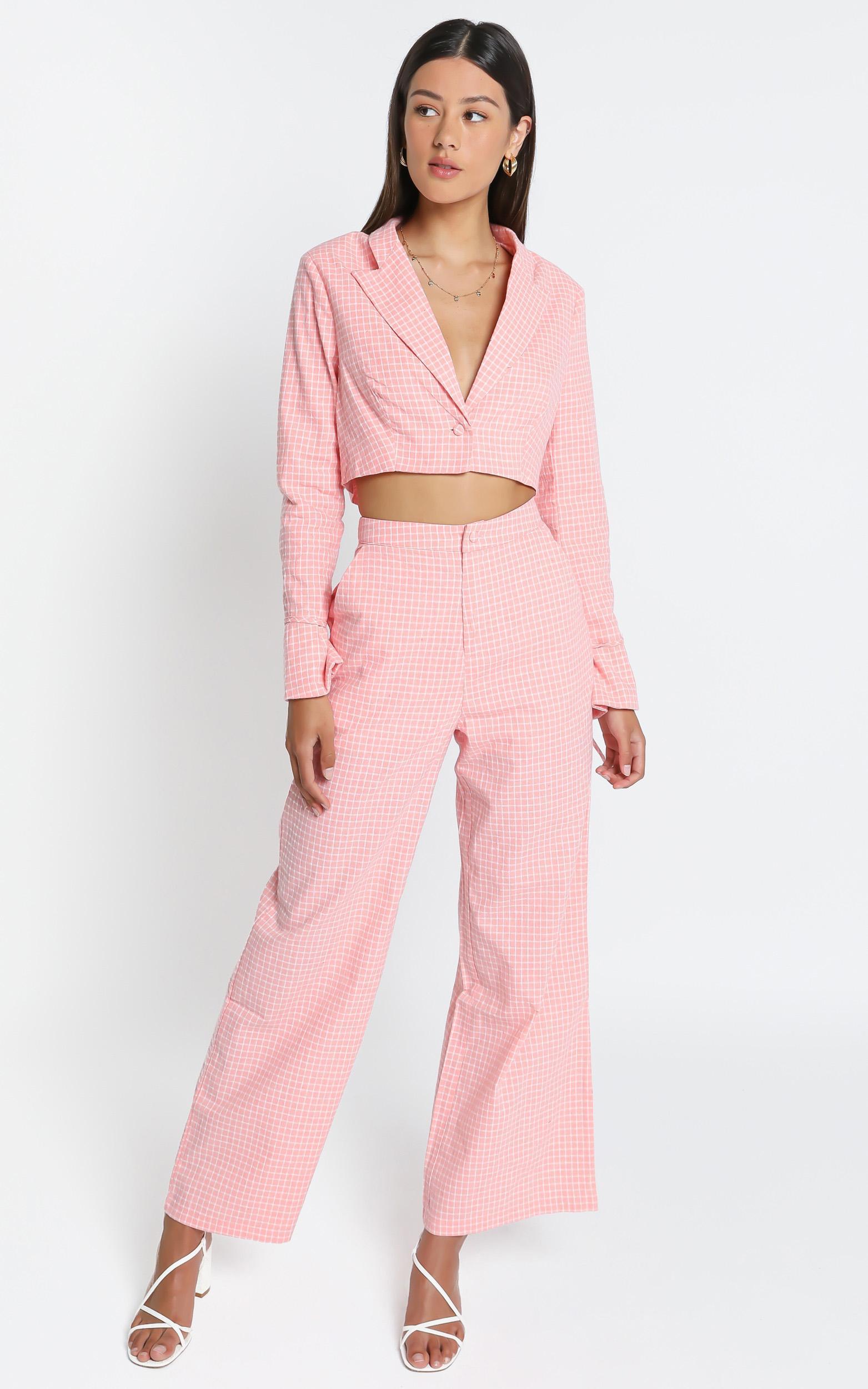 Kalina Pants In Pink Check - 6 (XS), Pink, hi-res image number null
