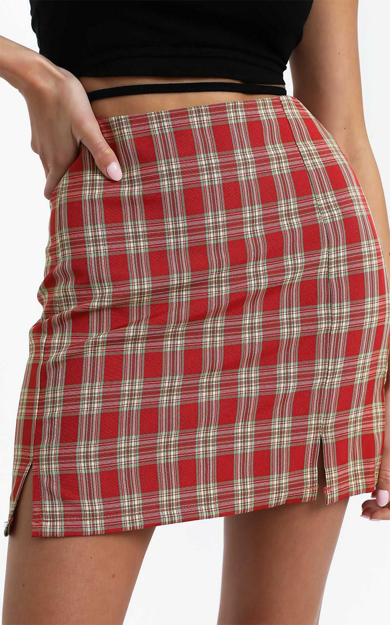 Jana Skirt in Red Check - 12 (L), Red, hi-res image number null