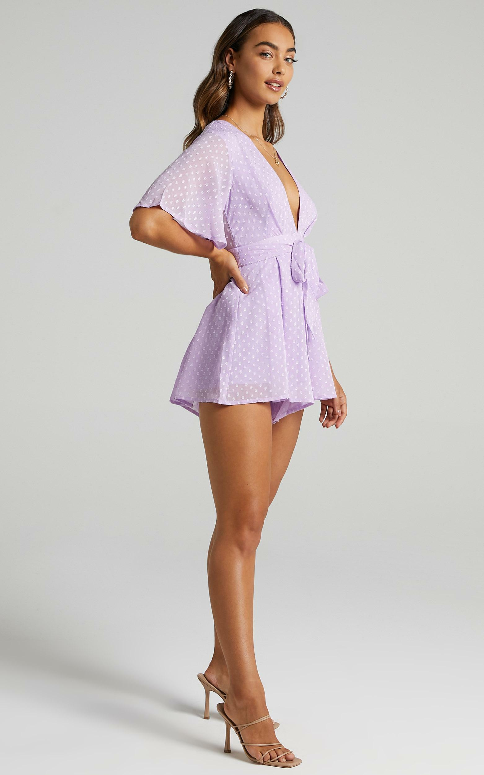 Chains Hit My Chest Playsuit In Lilac - 6 (XS), PRP3, hi-res image number null