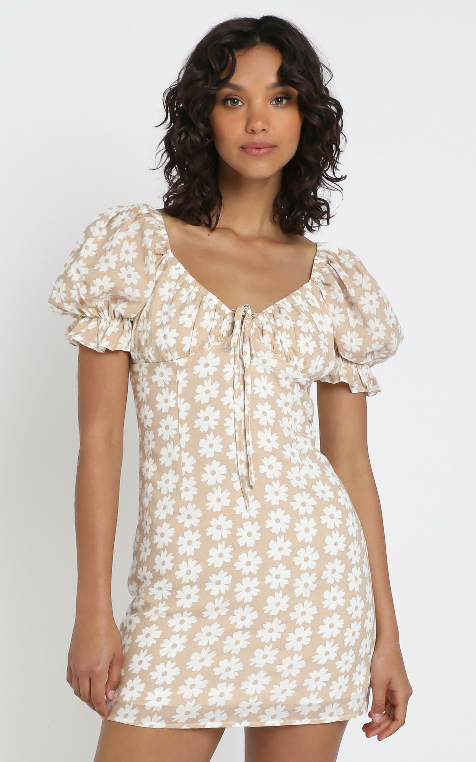 Hear The Choir dress in beige floral - 12 (L), Beige, hi-res image number null