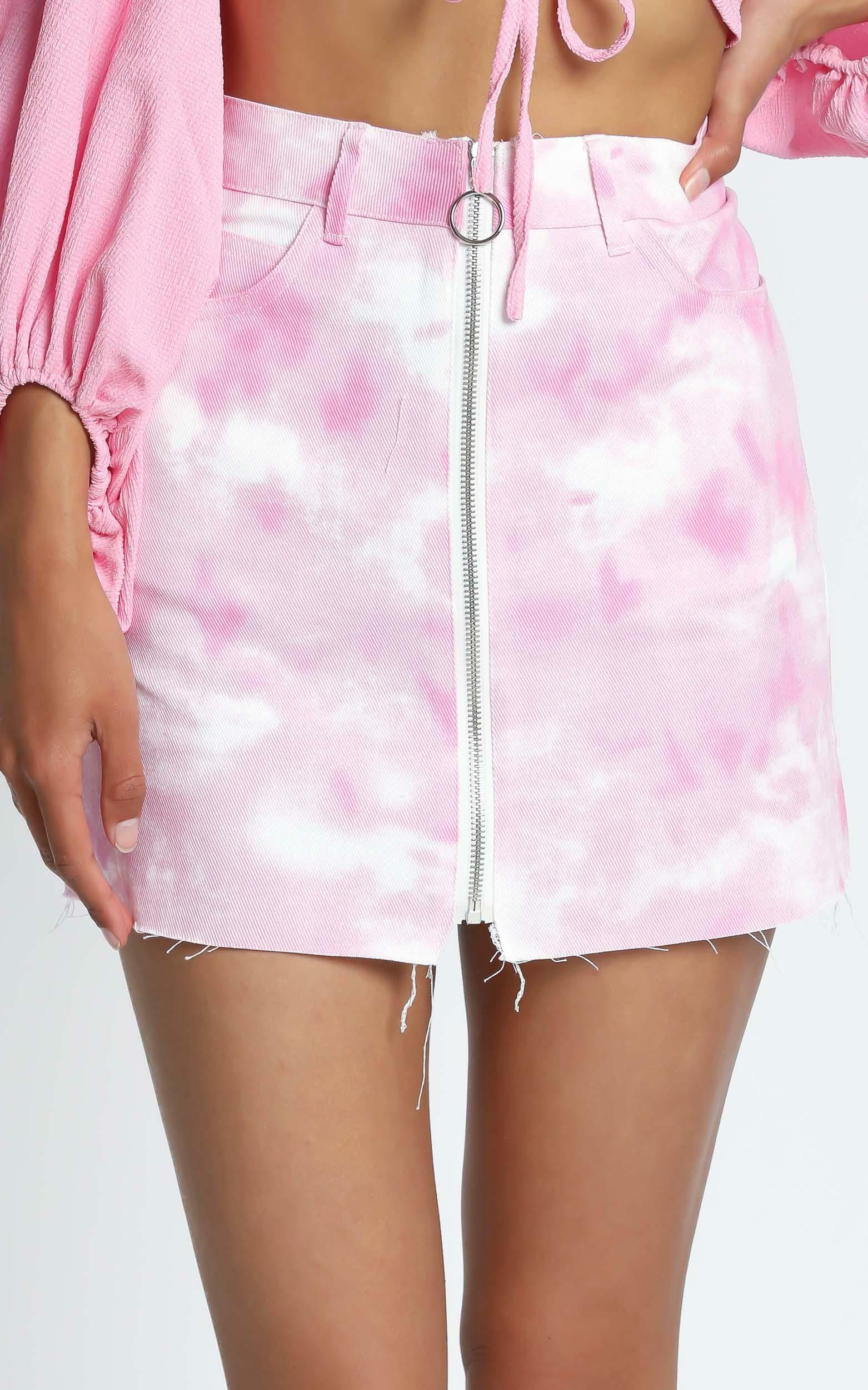 Holland Mini Skirt in Pink Tie Dye - 12 (L), Pink, hi-res image number null