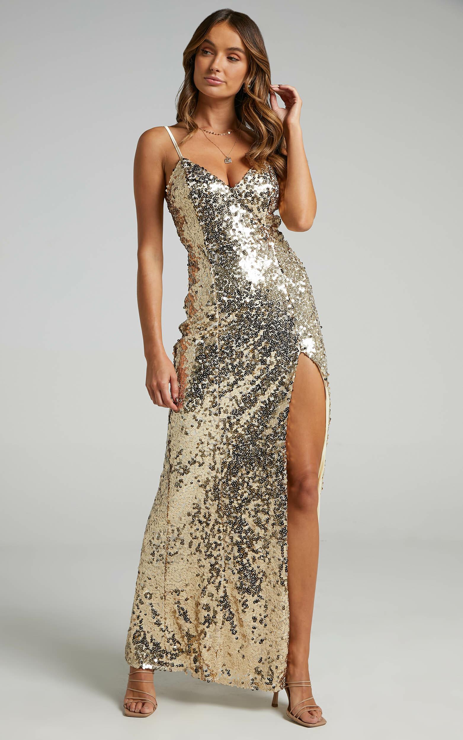 Mikela Dress in Gold Sequin - 06, GLD2, hi-res image number null