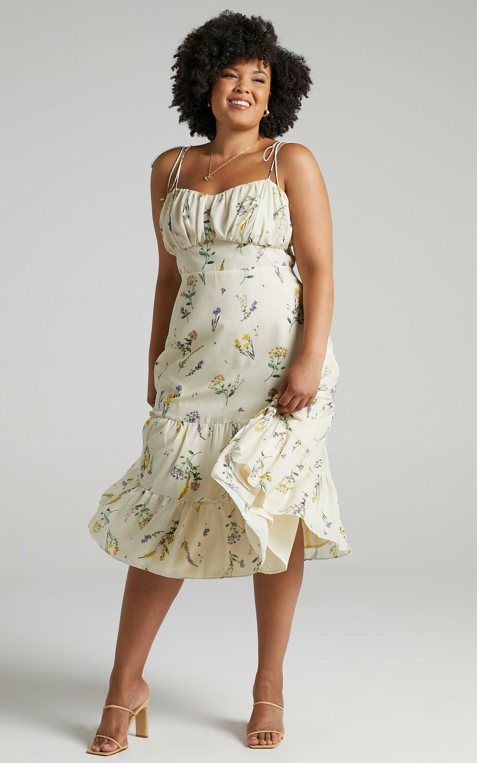 Monaco Sweetheart Midi Dress in Botanical floral - 04, CRE1, hi-res image number null