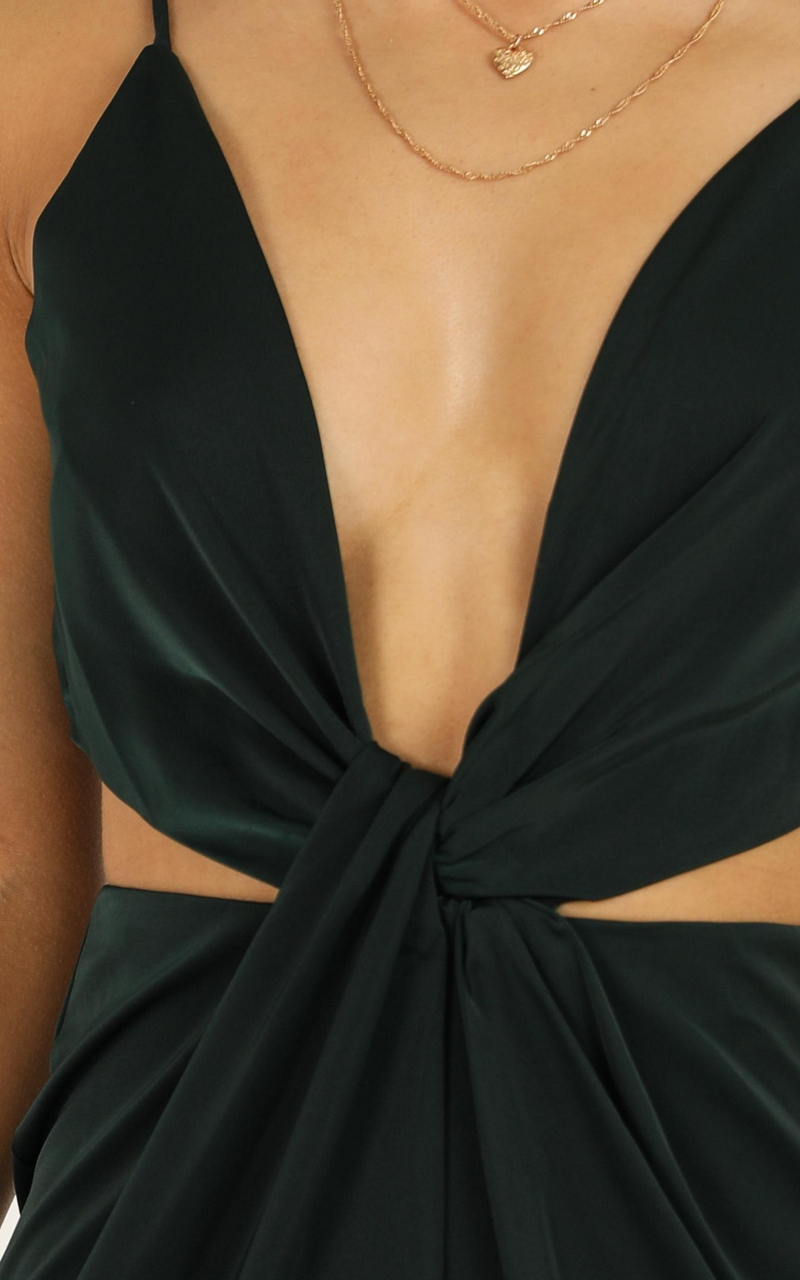 Simple Twist Of Fate Dress in emerald satin - 20 (XXXXL), Green, hi-res image number null