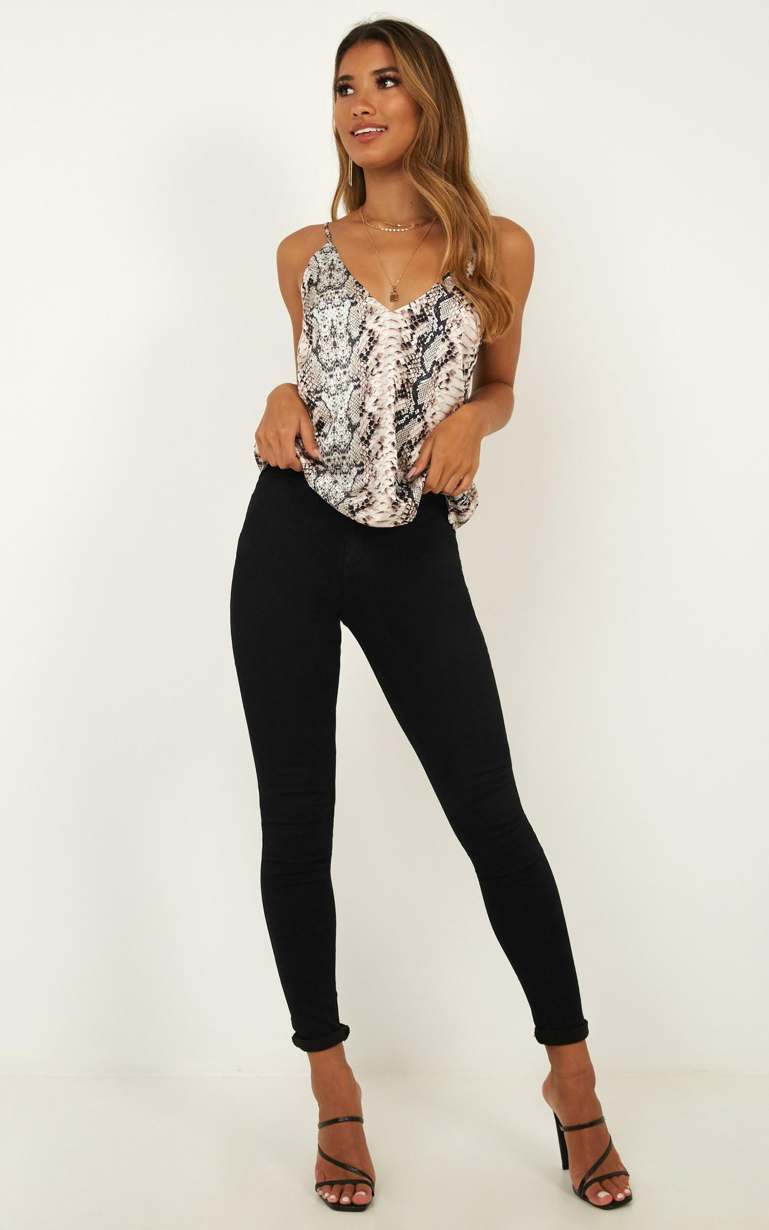 My Only Sunshine Top in snake print satin - 4 (XXS), Brown, hi-res image number null