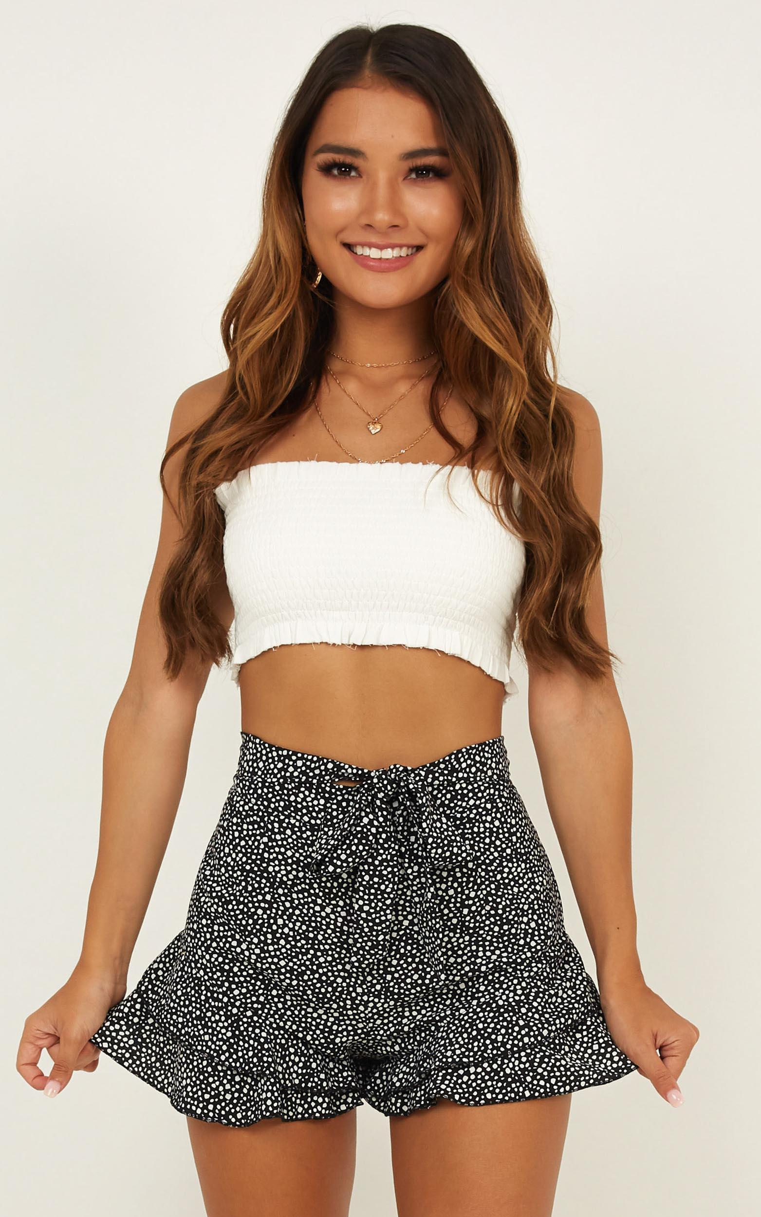 Here To Dance shorts in black print - 12 (L), Black, hi-res image number null