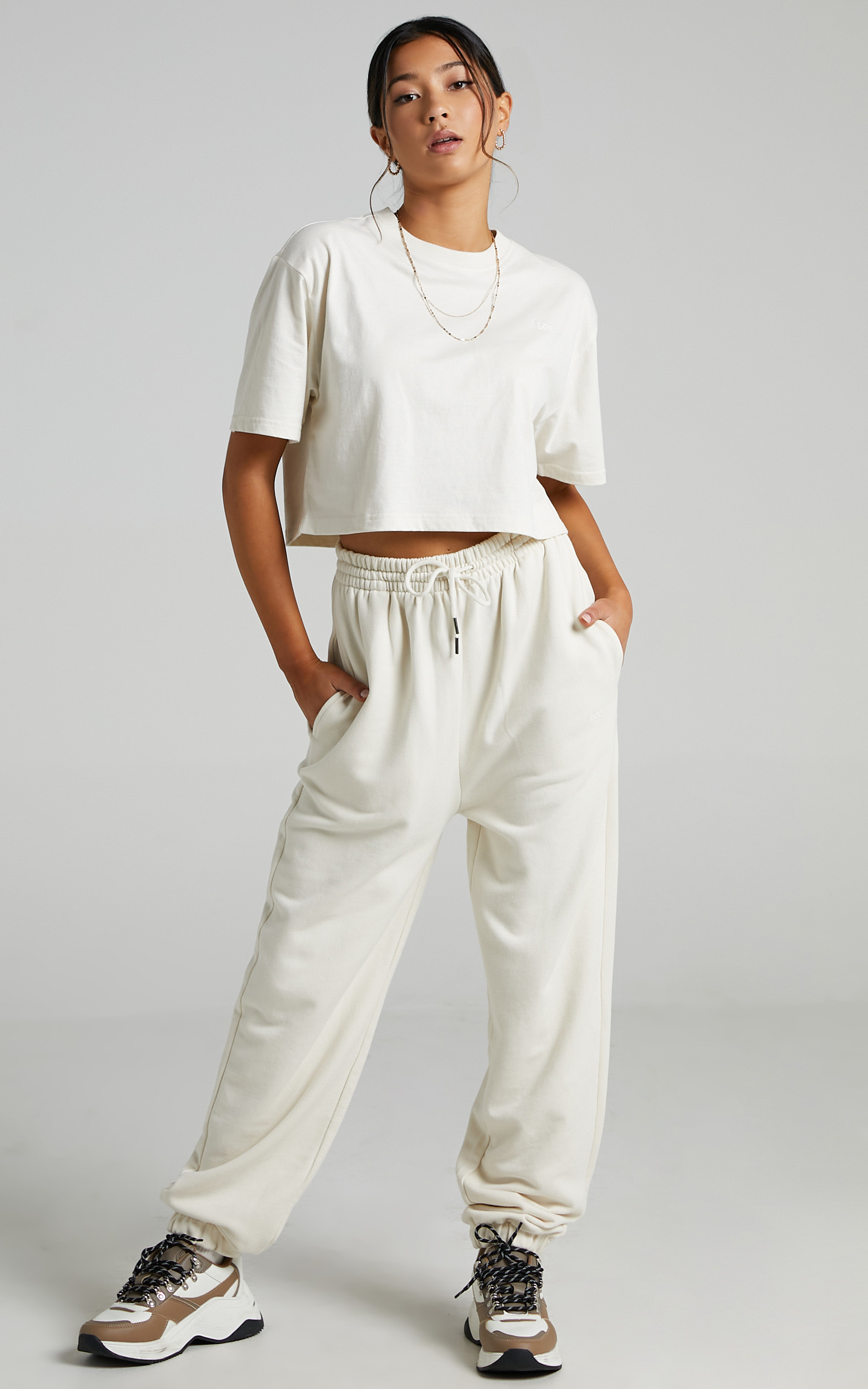 Lee - Baggy Cropped Tee in Unbleached - L, CRE1, hi-res image number null