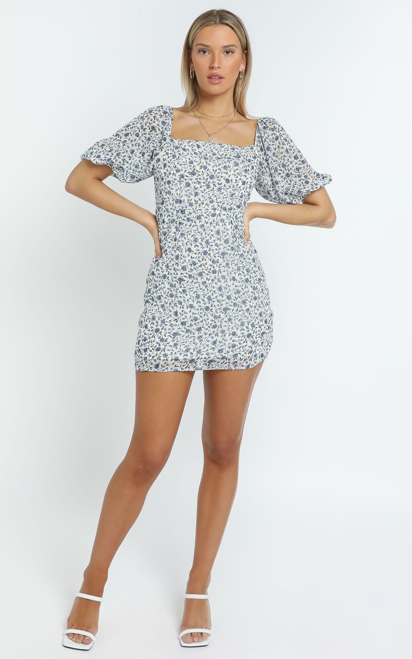 Ellia Dress in White Floral - 14 (XL), White, hi-res image number null