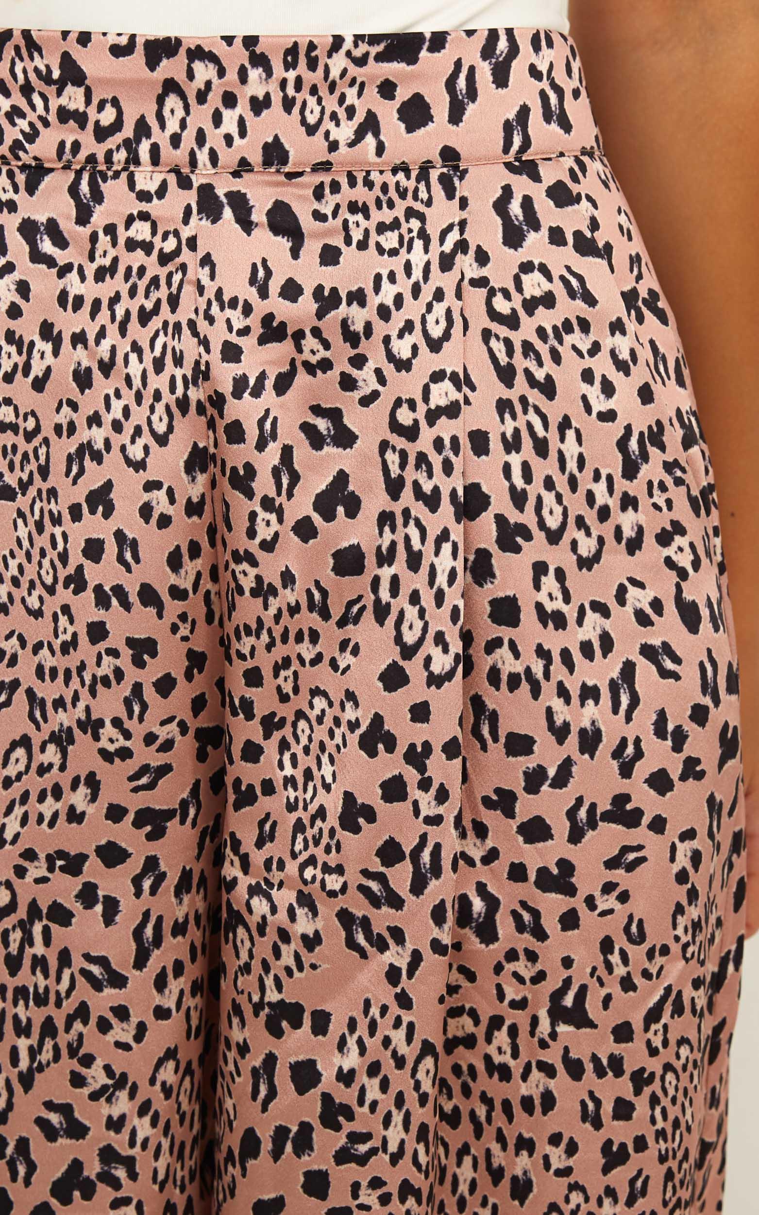 Human Error Pants In mocha leopard satin - 12 (L), Mocha, hi-res image number null