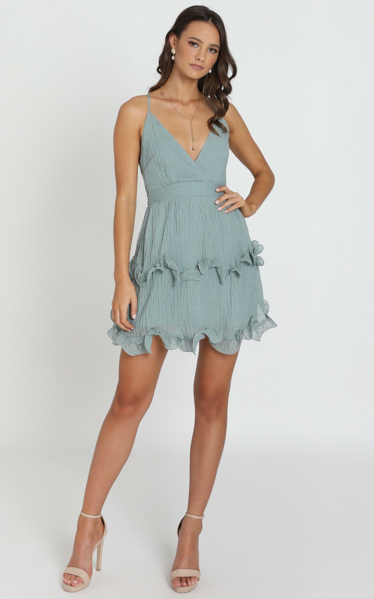 Moving On Up Mini Dress In olive - 12 (L), Blue, hi-res image number null