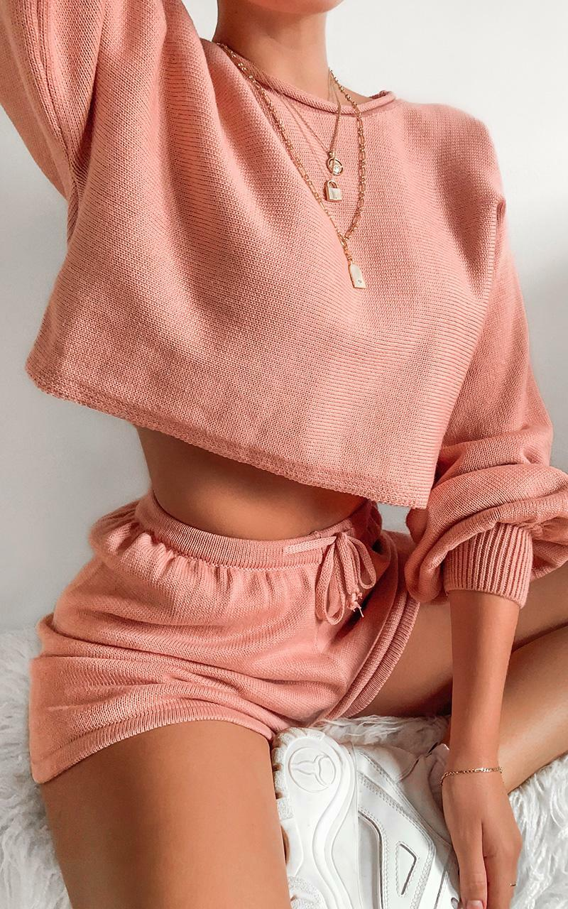 Hartley Knitted Shorts in Rose, Pink, hi-res image number null