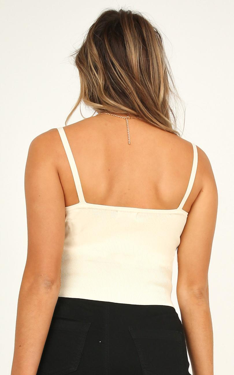 Under Protection knit top in cream - 12 (L), Cream, hi-res image number null