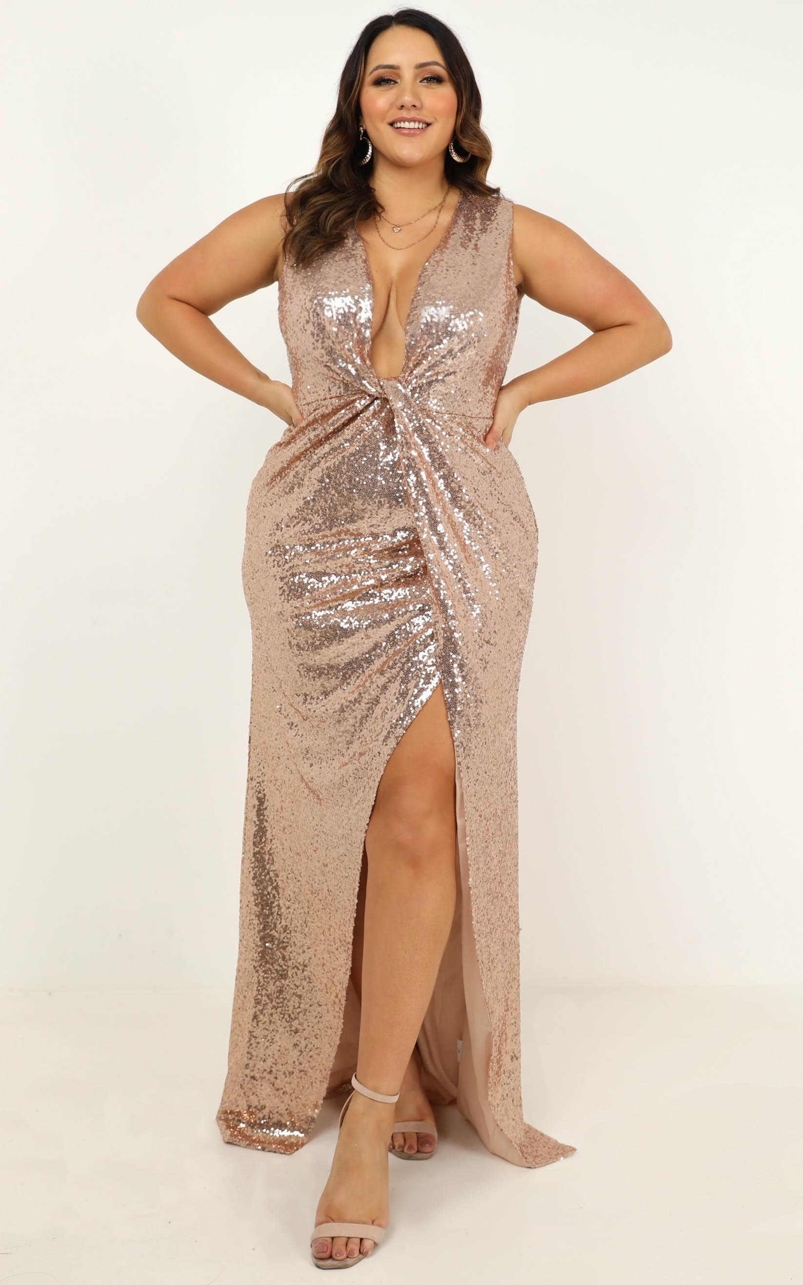 Shine a light dress in champagne sequin - 16 (XXL), Beige, hi-res image number null