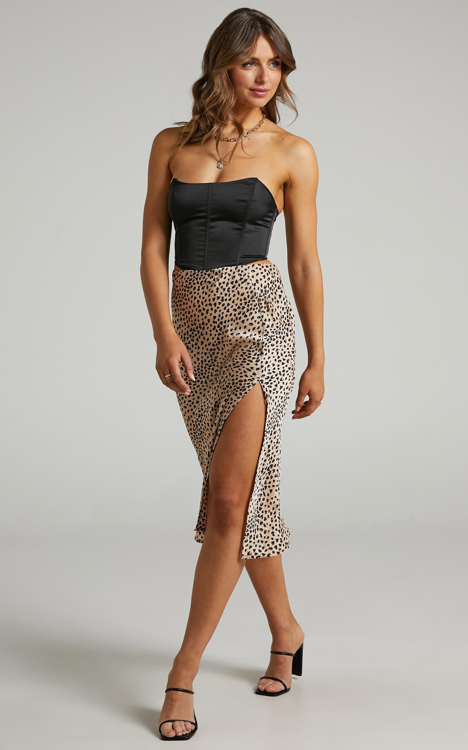 Elana Slip Skirt with Split in Animal Print - 06, BRN1, hi-res image number null