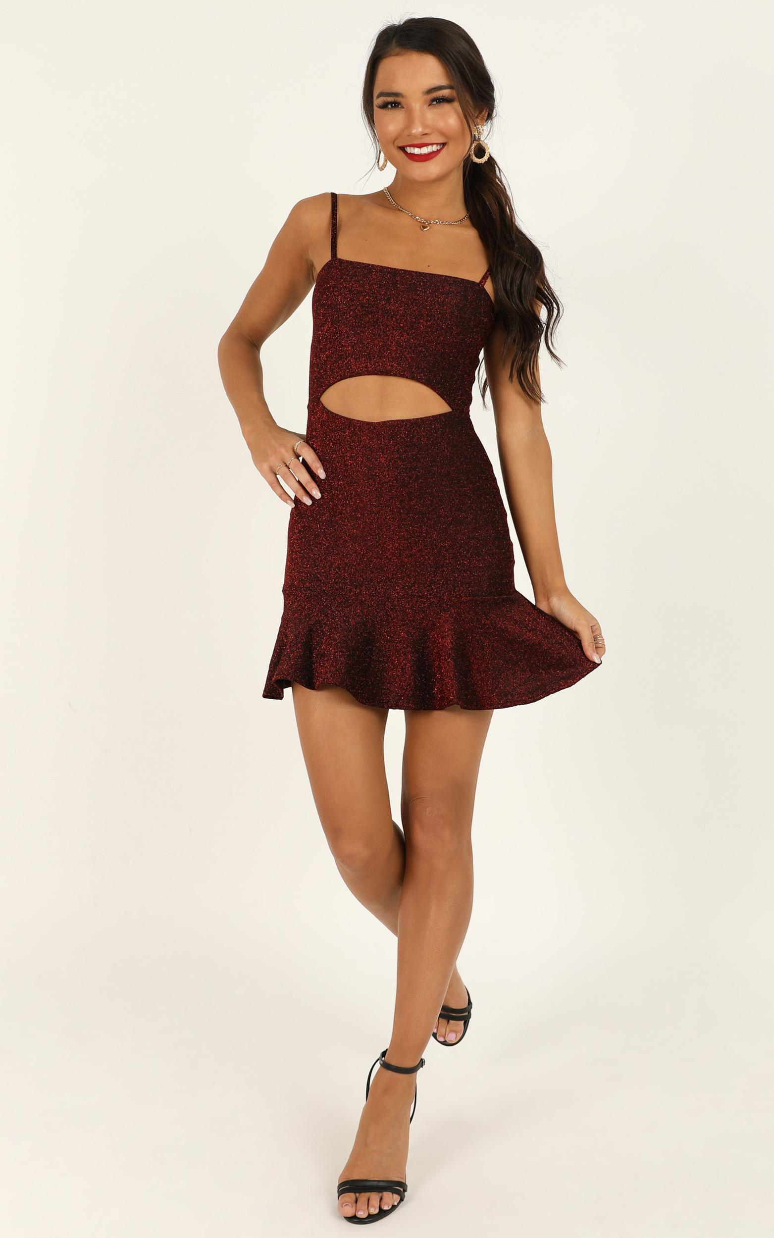 I Got New Rules dress in wine lurex - 14 (XL), Wine, hi-res image number null