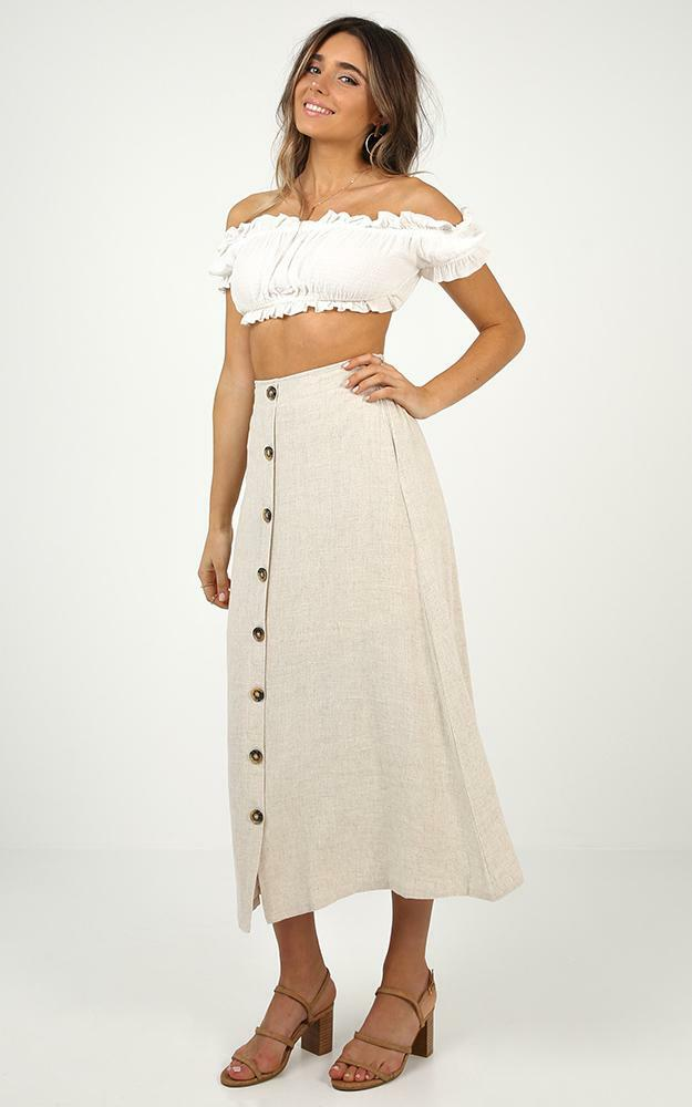 Stay Young skirt in beige linen look, Beige, hi-res image number null