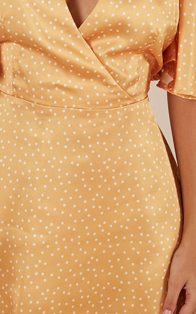 Beginners luck Dress in mango spot satin - 12 (L), Yellow, hi-res image number null