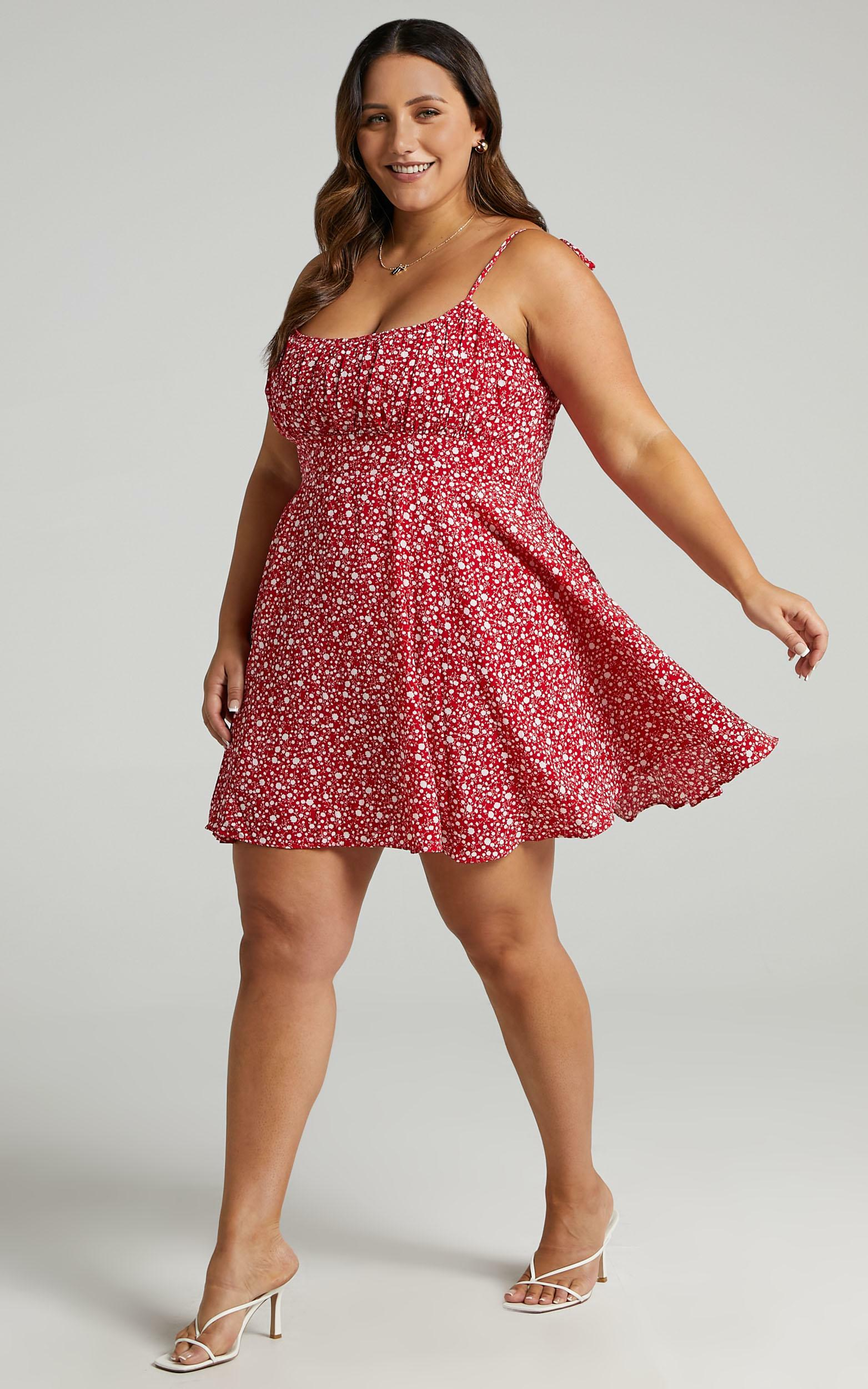 Summer Jam Sweetheart Mini Dress in Red Floral Print - 04, RED5, hi-res image number null