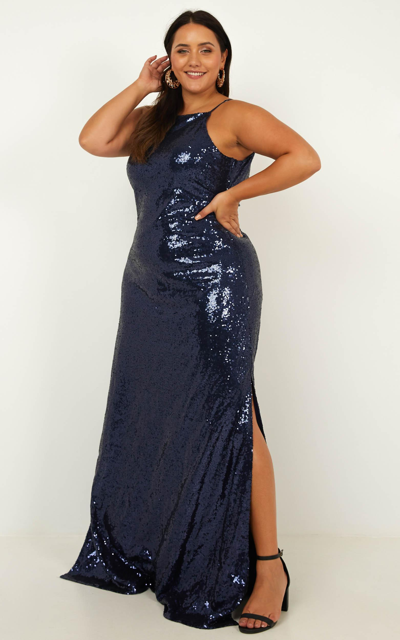 All Bets Off  Dress In navy sequin - 20 (XXXXL), Navy, hi-res image number null